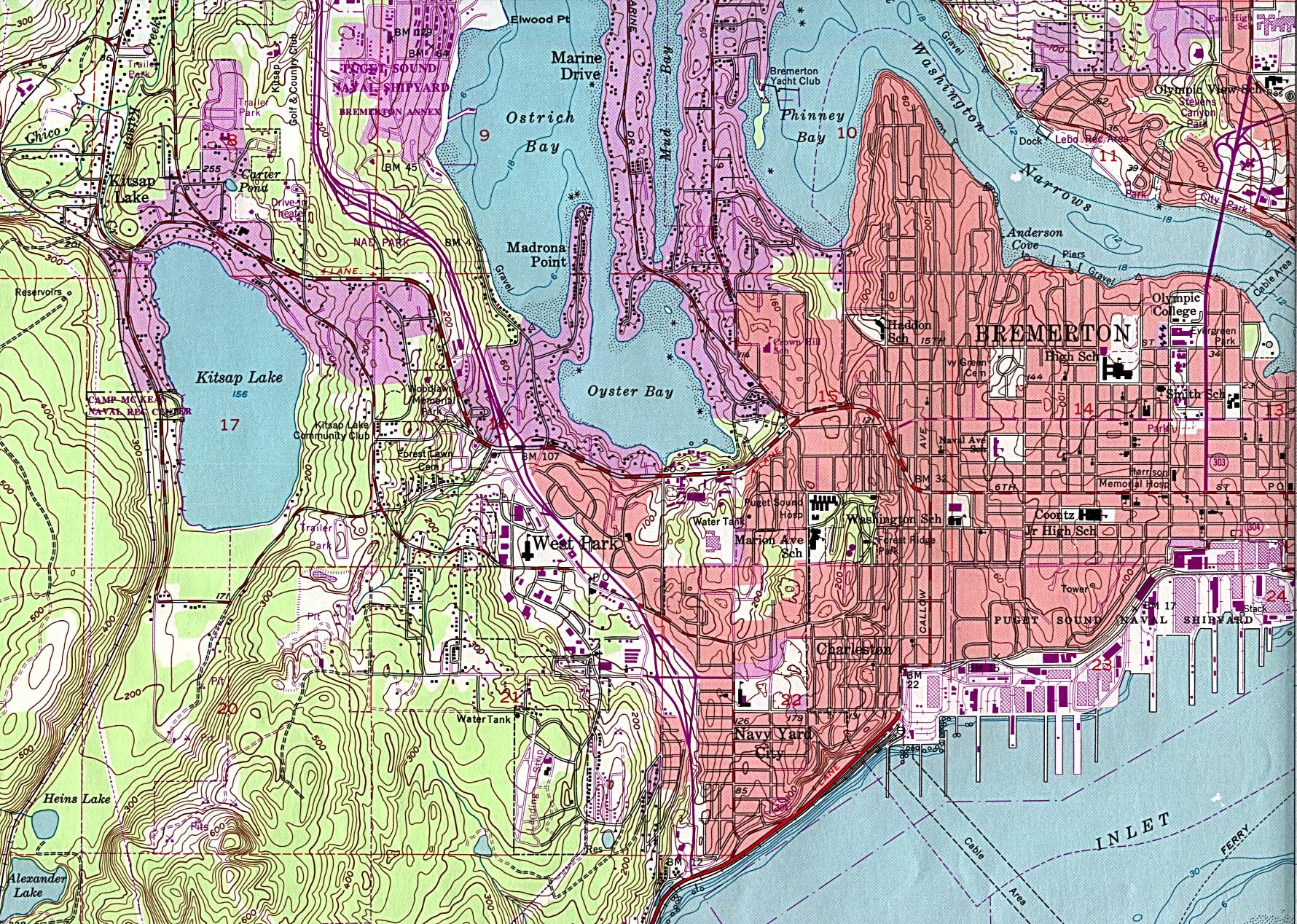 Bremerton  Topographic City Map, Washington, United States