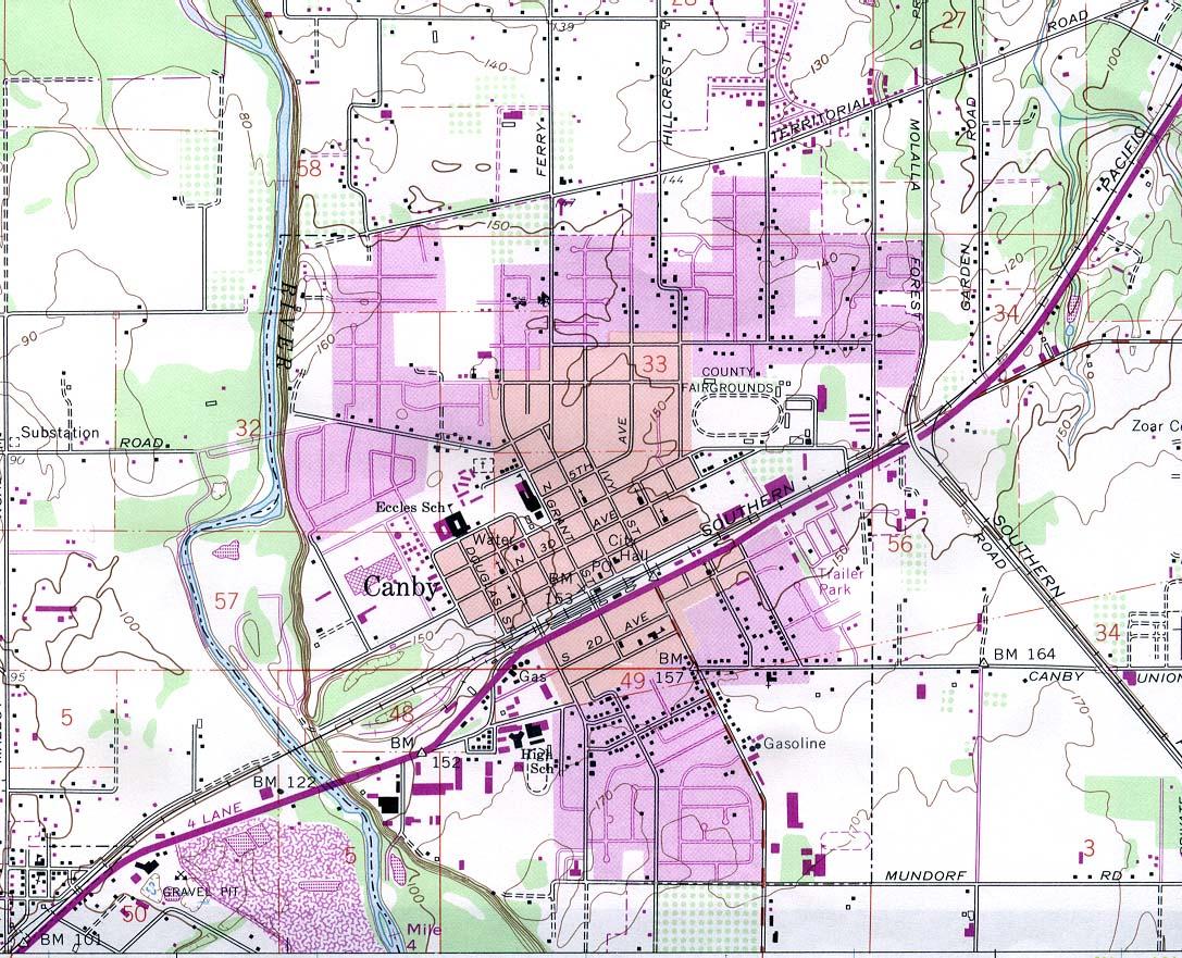 Mapa Topográfico de la Ciudad de Canby, Oregón, Estados Unidos