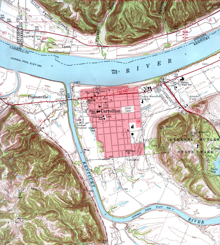 Mapa Topográfico de la Ciudad de Carrollton, Kentucky, Estados Unidos