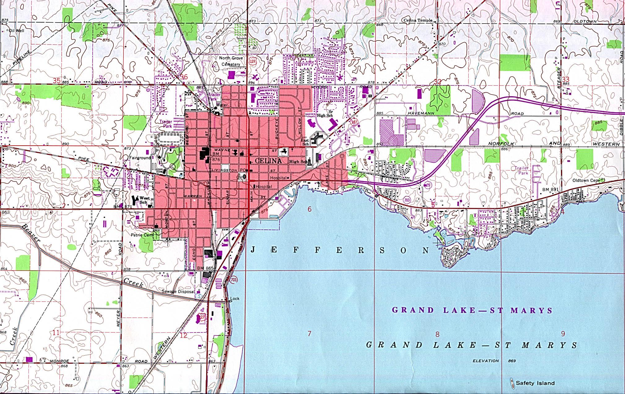 Mapa Topográfico de la Ciudad de Celina, Ohio, Estados Unidos