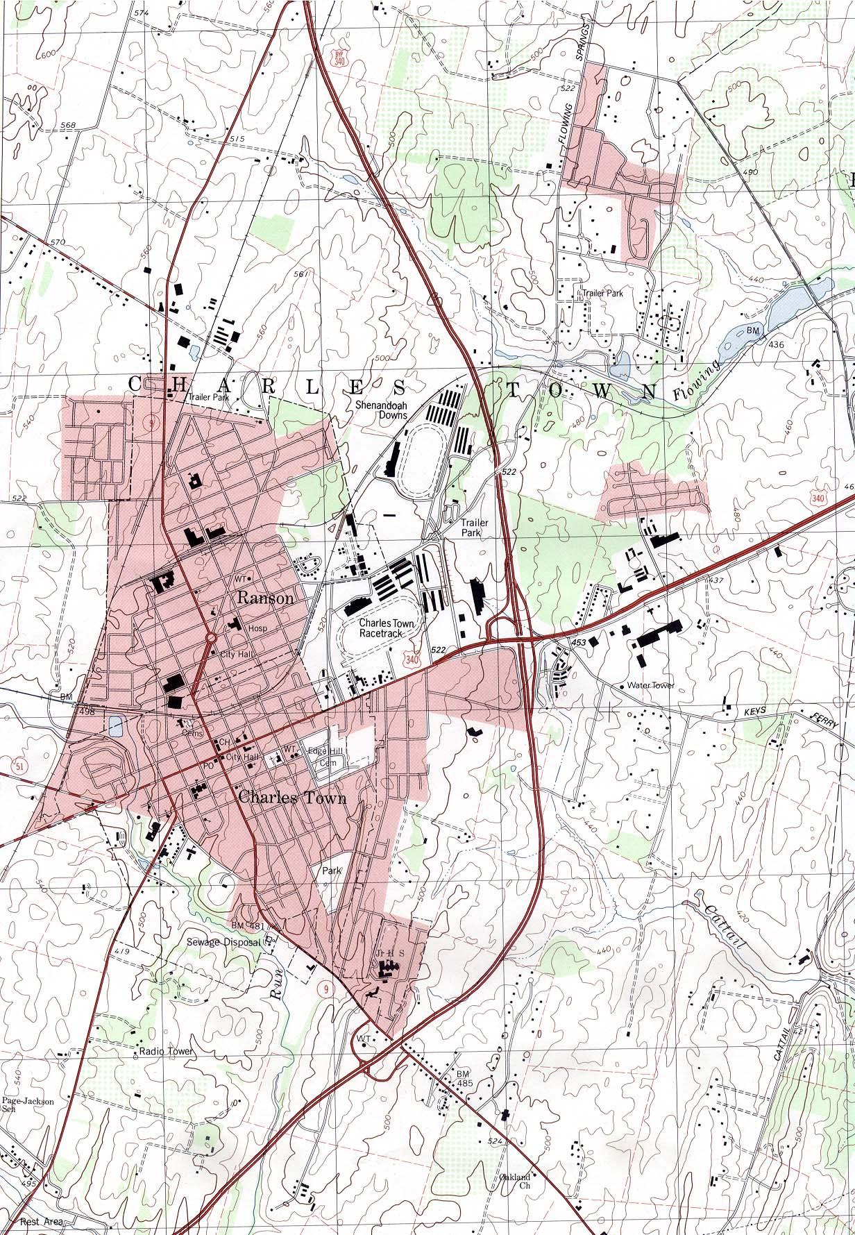 Mapa Topográfico de la Ciudad de Charles Town, Virginia Occidental, Estados Unidos