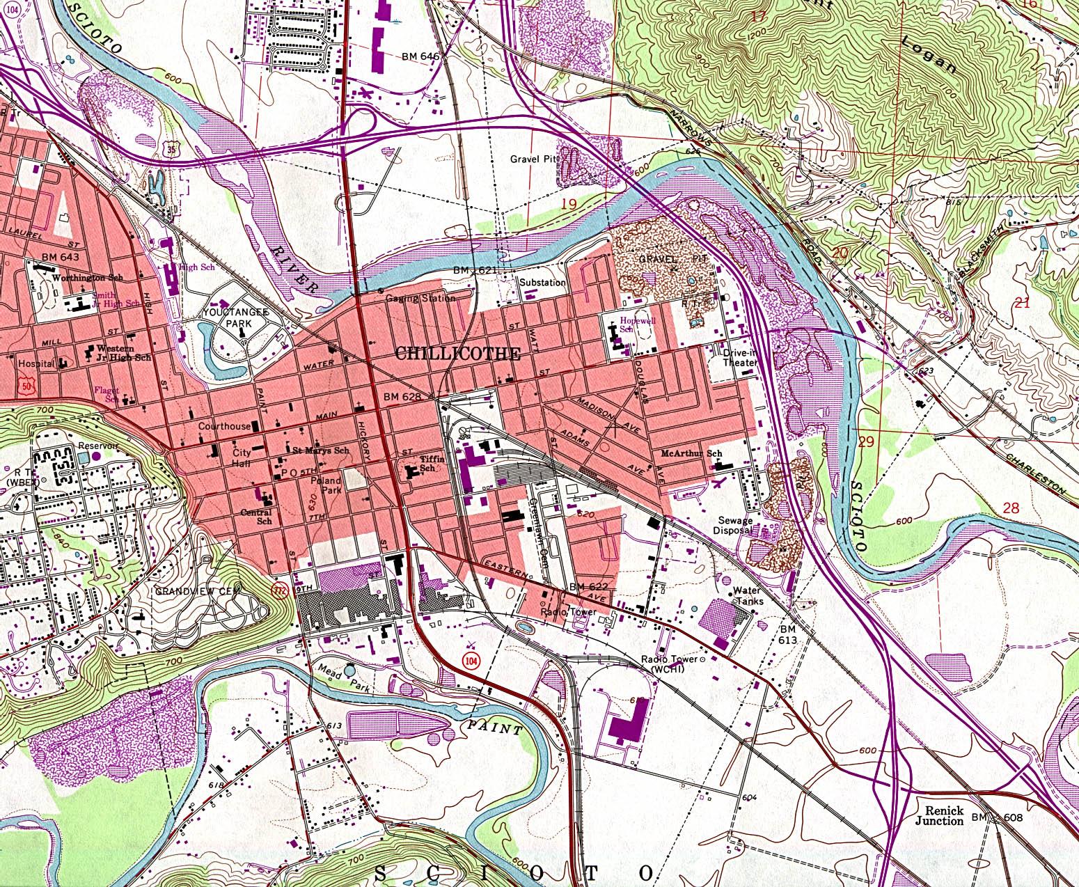 Mapa Topográfico de la Ciudad de Chillicothe, Ohio, Estados Unidos