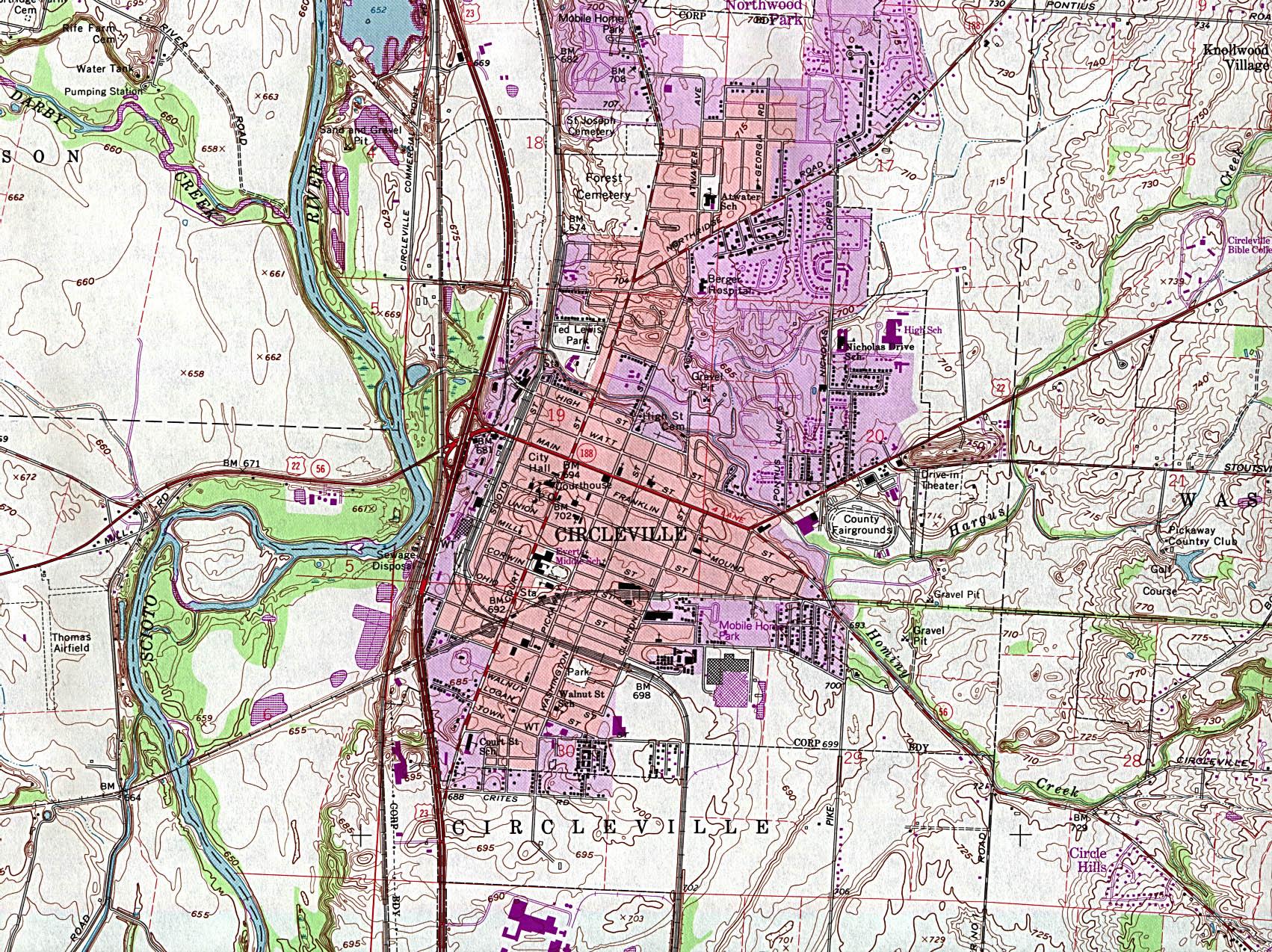 Mapa Topográfico de la Ciudad de Circleville, Ohio, Estados Unidos