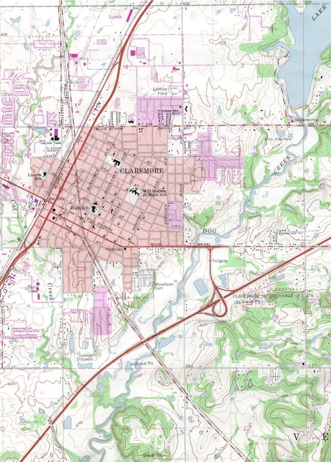Mapa Topográfico de la Ciudad de Claremore, Oklahoma, Estados Unidos