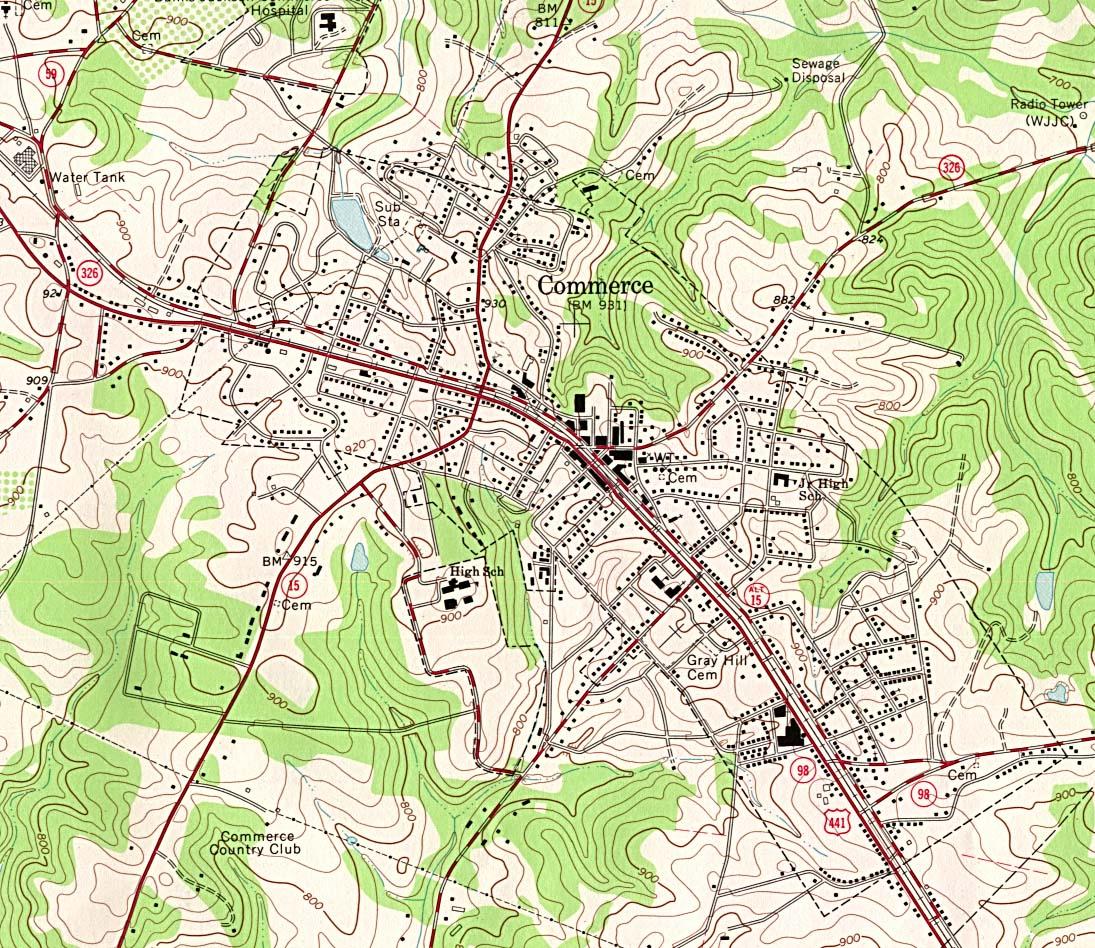 Mapa Topográfico de la Ciudad de Comercio, Georgia, Estados Unidos