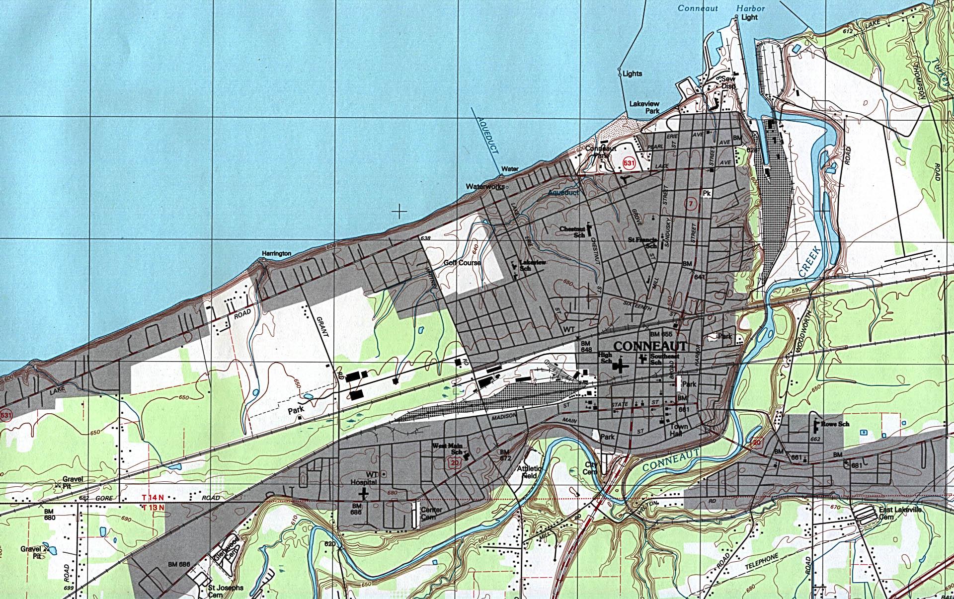 Mapa Topográfico de la Ciudad de Conneaut, Ohio, Estados Unidos
