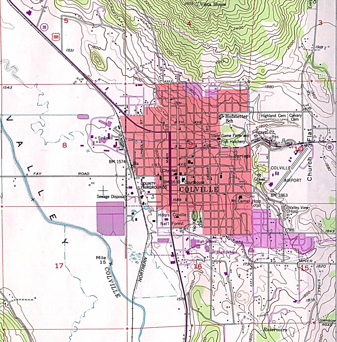 Mapa Topográfico de la Ciudad de Coville, Washington, Estados Unidos