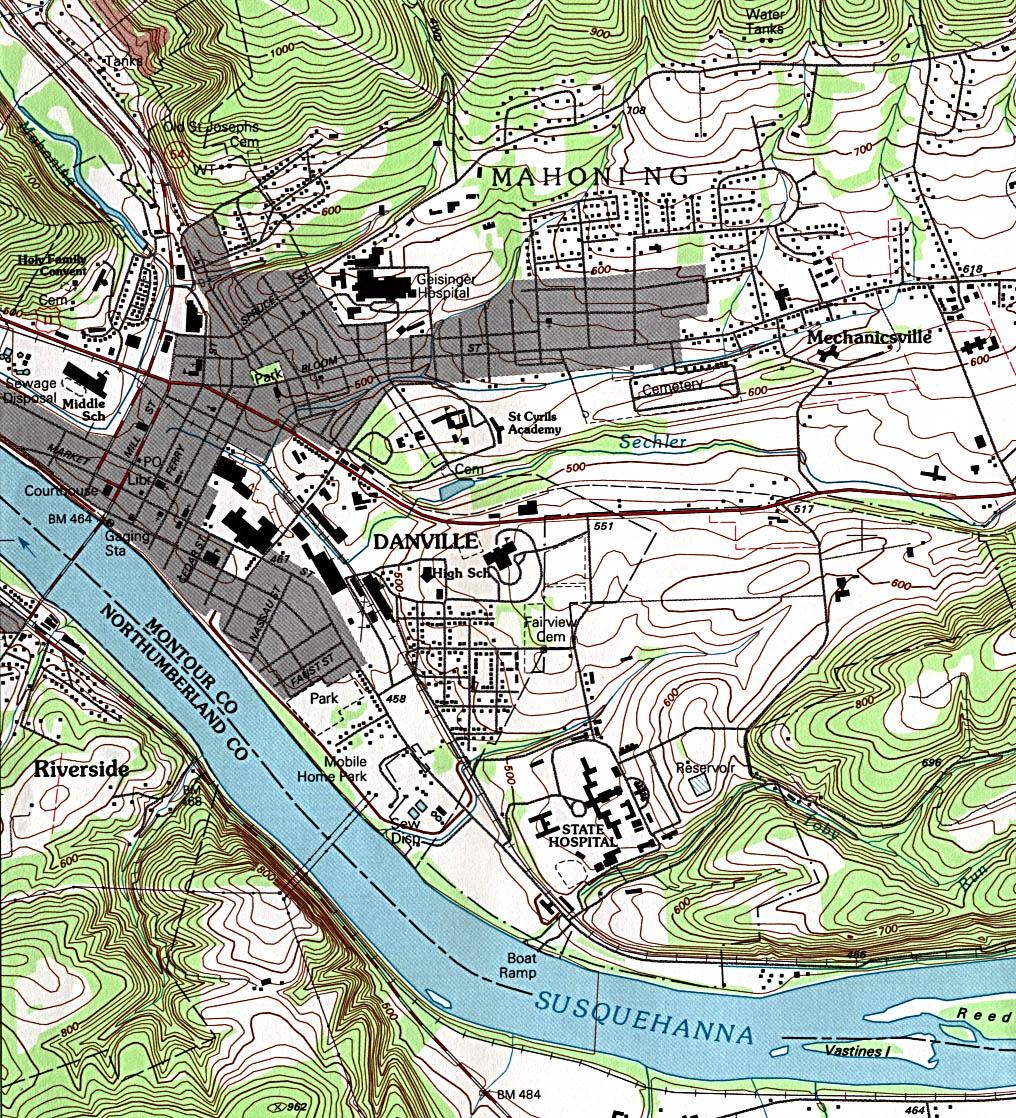 Mapa Topográfico de la Ciudad de Danville, Pensilvania, Estados Unidos