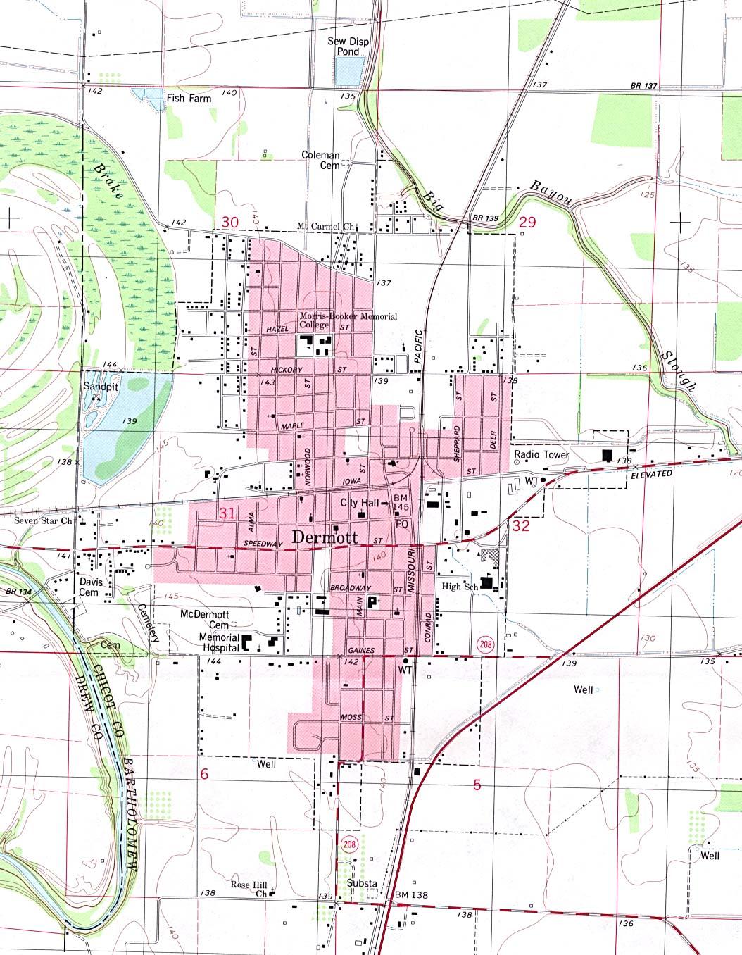 Mapa Topográfico de la Ciudad de Dermott, Arkansas, Estados Unidos