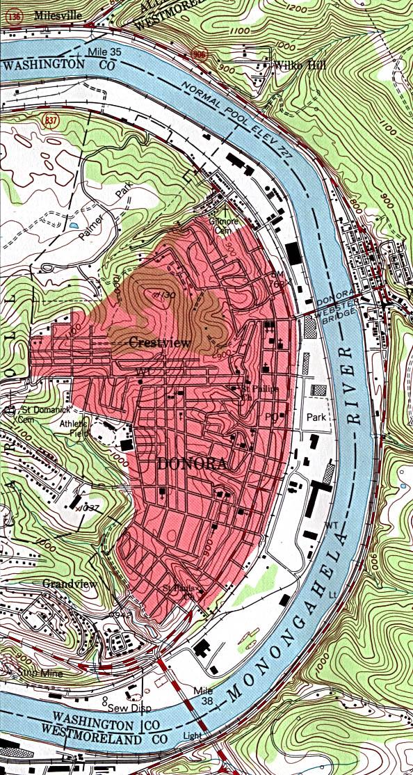 Mapa Topográfico de la Ciudad de Donora, Pensilvania, Estados Unidos