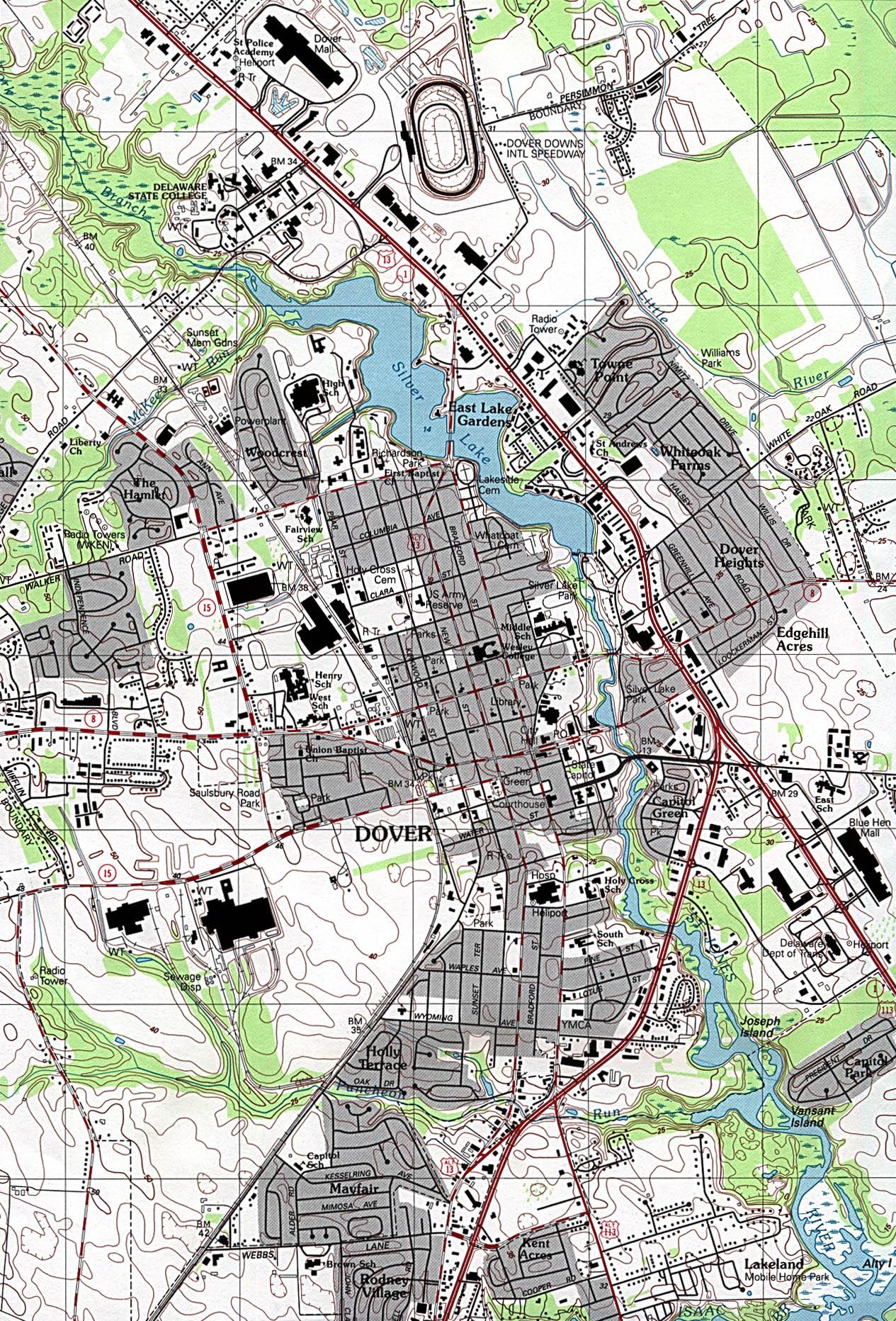 Mapa Topográfico de la Ciudad de Dover, Delaware, Estados Unidos