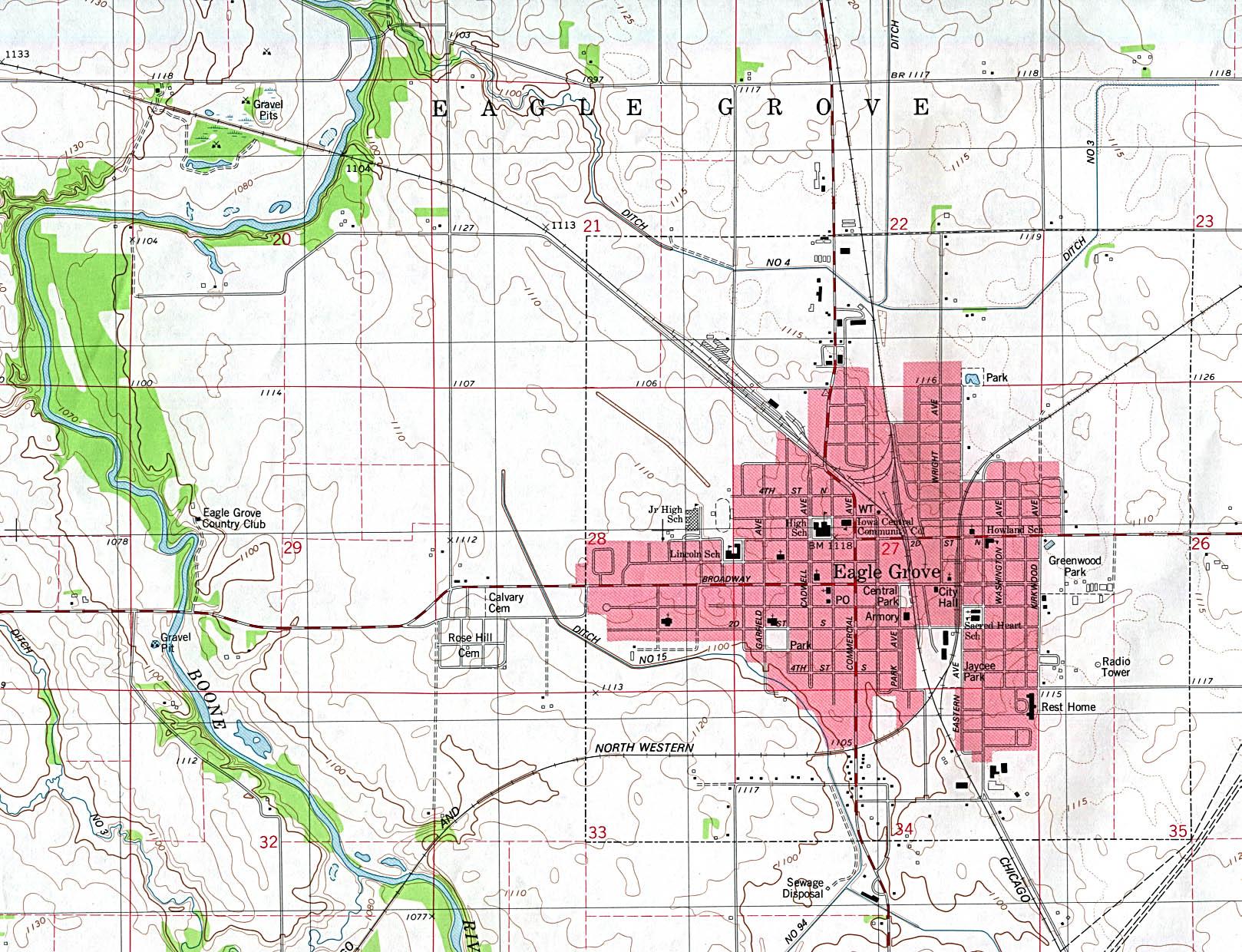 Mapa Topográfico de la Ciudad de Eagle Grove, Iowa, Estados Unidos