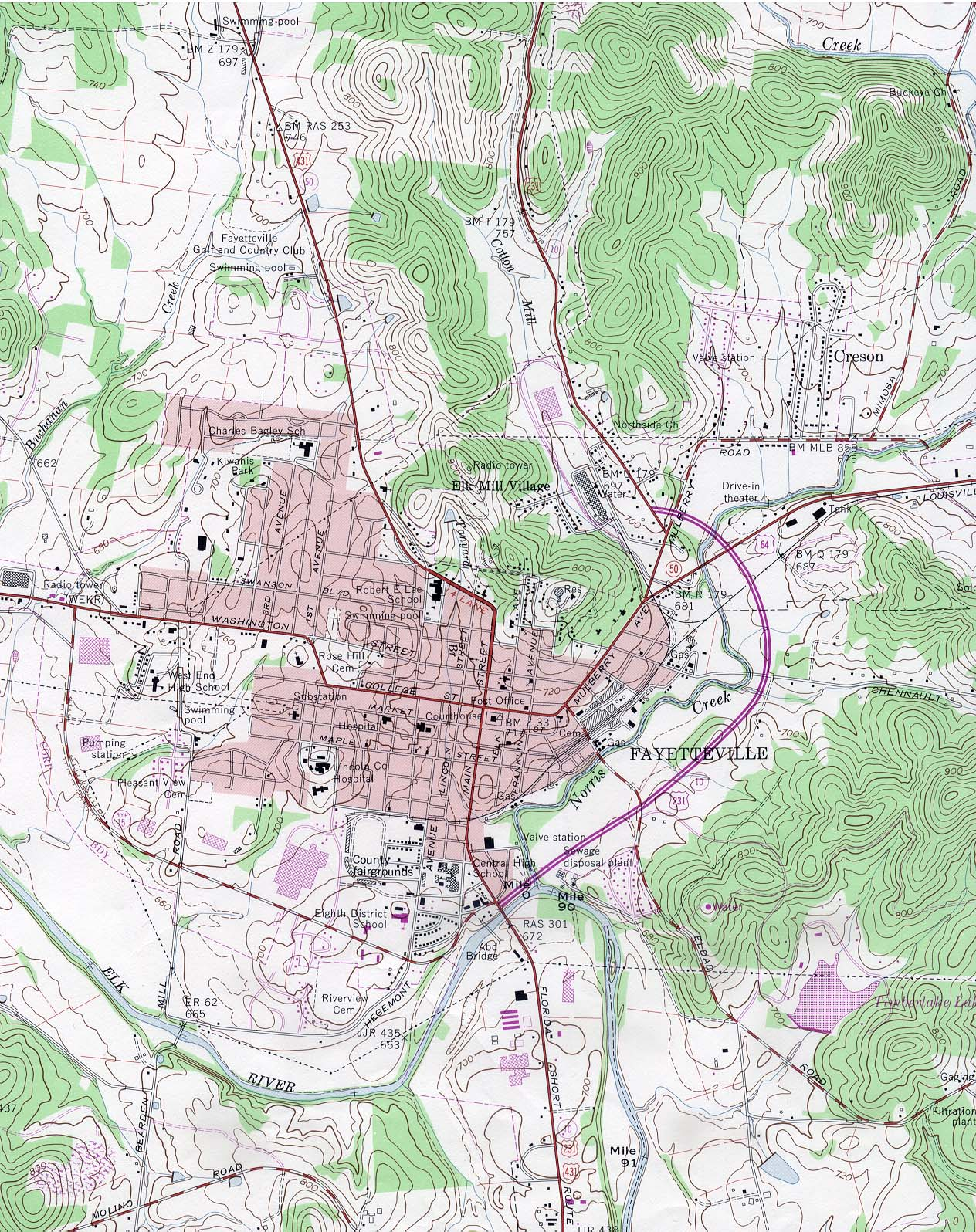 Fayetteville Topographic City Map, Tennessee, United States