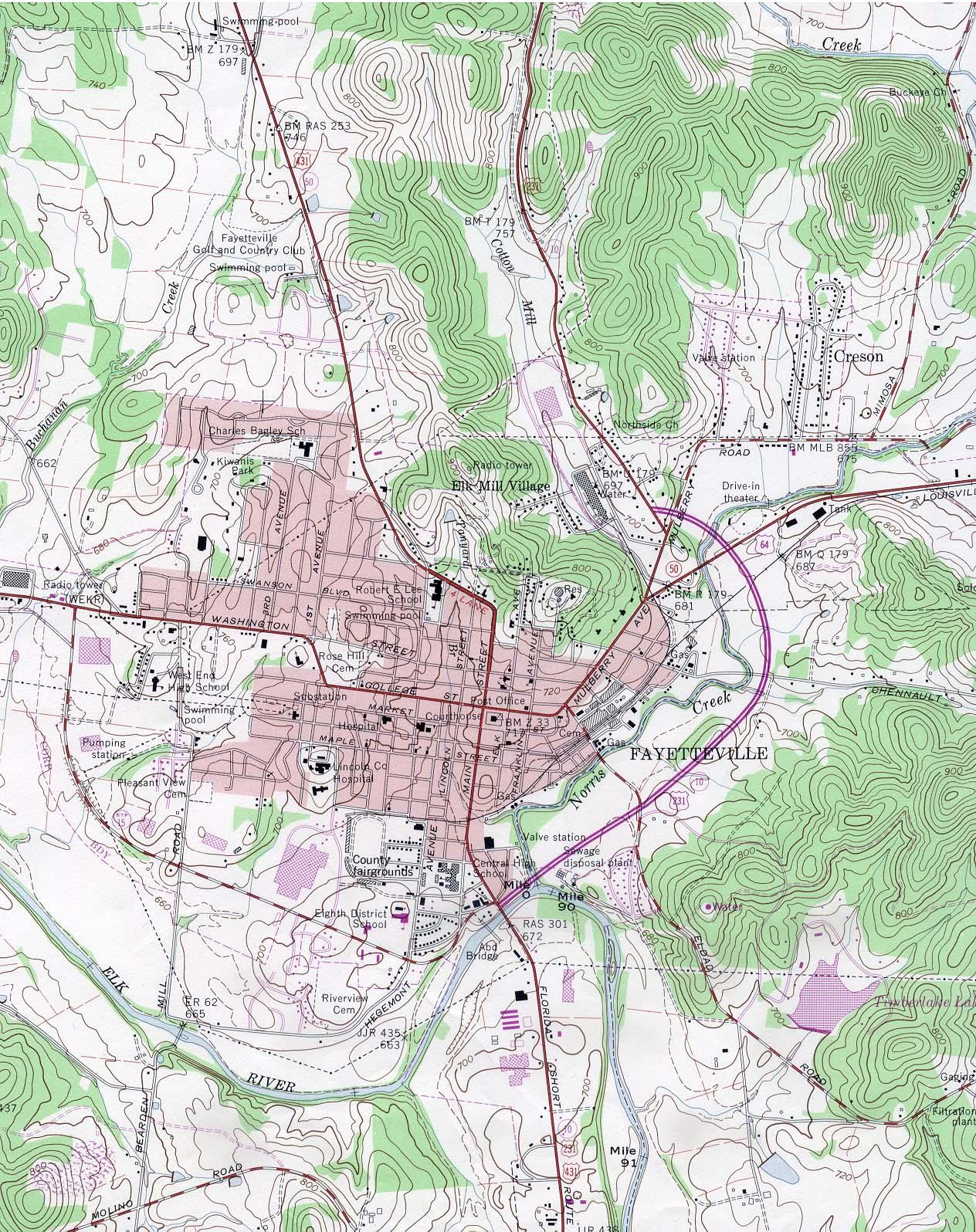 Mapa Topográfico de la Ciudad de Fayetteville, Tennessee, Estados Unidos