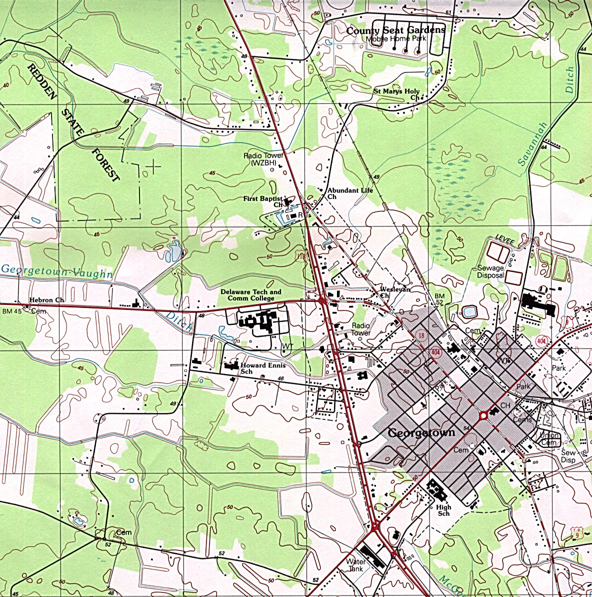 Georgetown Topographic City Map, Delaware, United States
