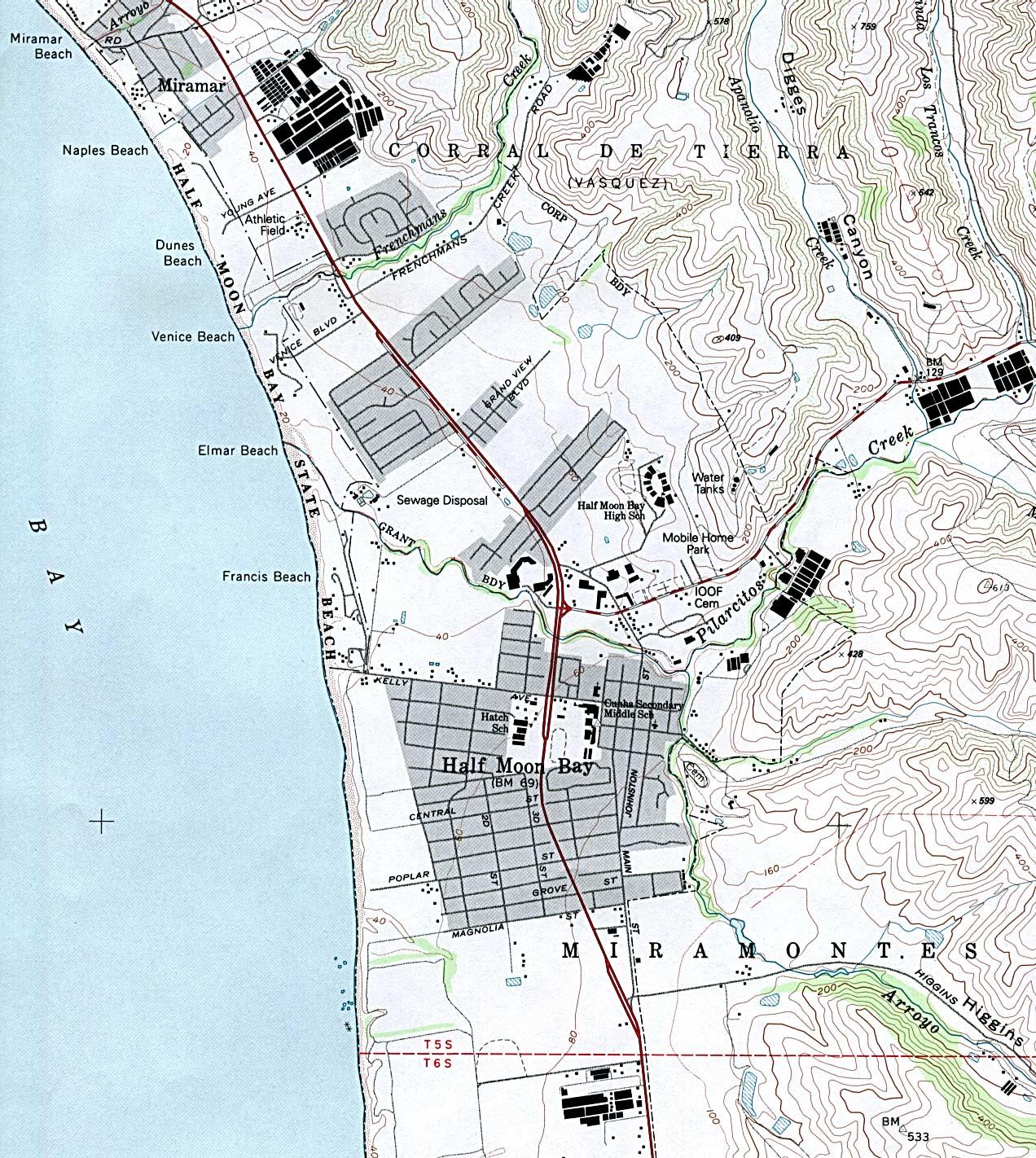 Half Moon Bay Topographic City Map, California, United States