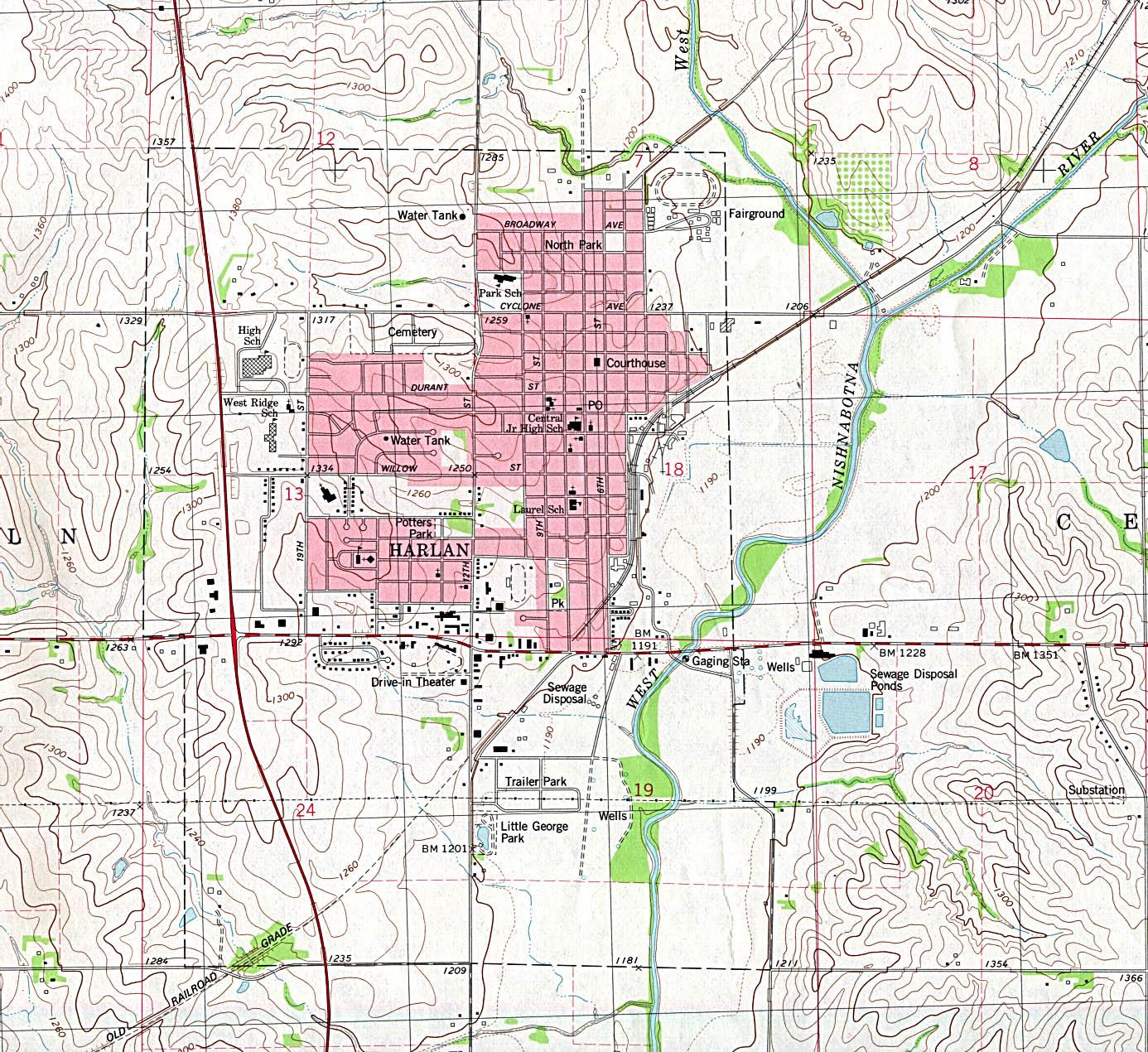 Mapa Topográfico de la Ciudad de Harlan, Iowa, Estados Unidos