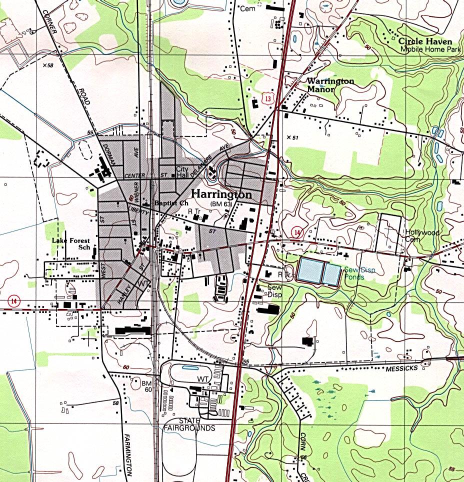 Mapa Topográfico de la Ciudad de Harrington, Delaware, Estados Unidos