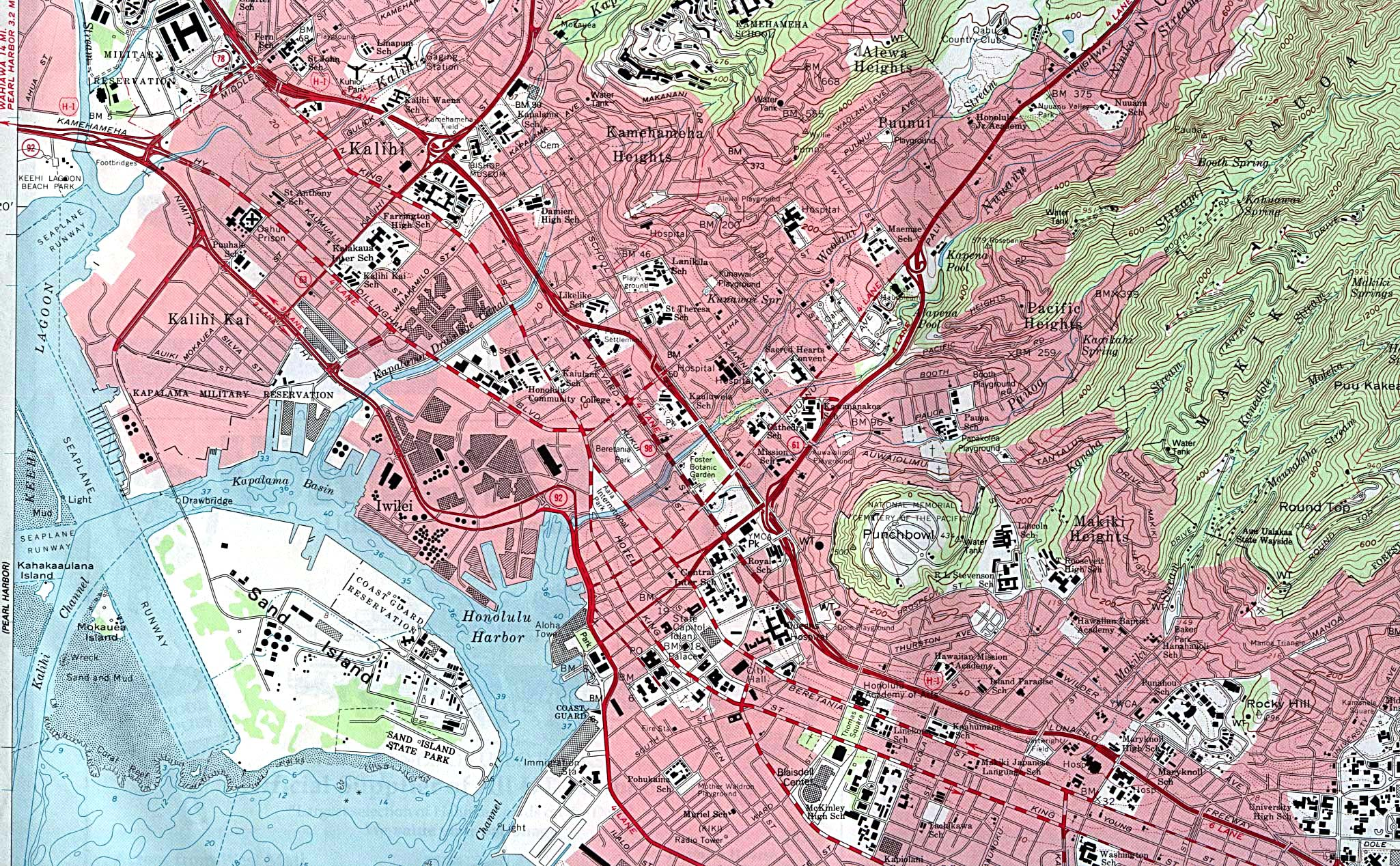 Honolulu West Topographic City Map, Hawaii, United States