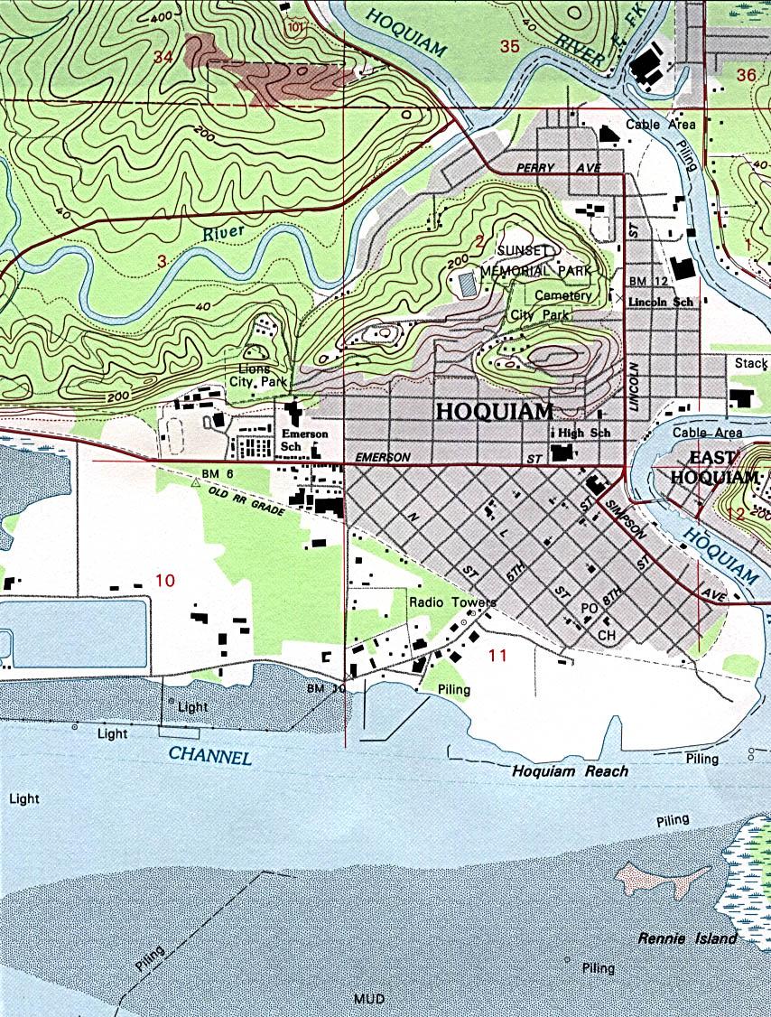 Mapa Topográfico de la Ciudad de Hoquiam, Washington, Estados Unidos