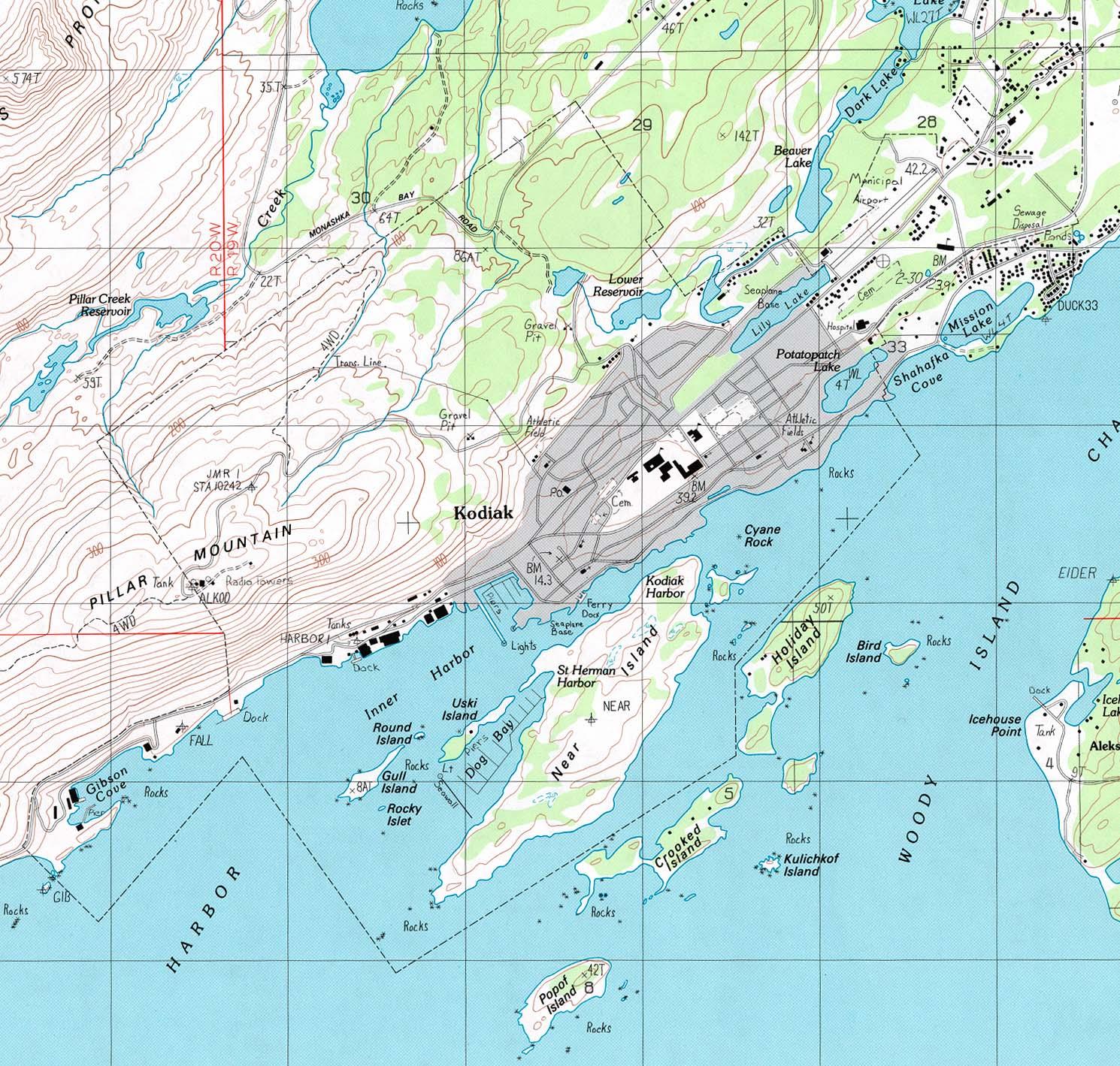 Mapa Topográfico de la Ciudad de Kodiak, Estados Unidos