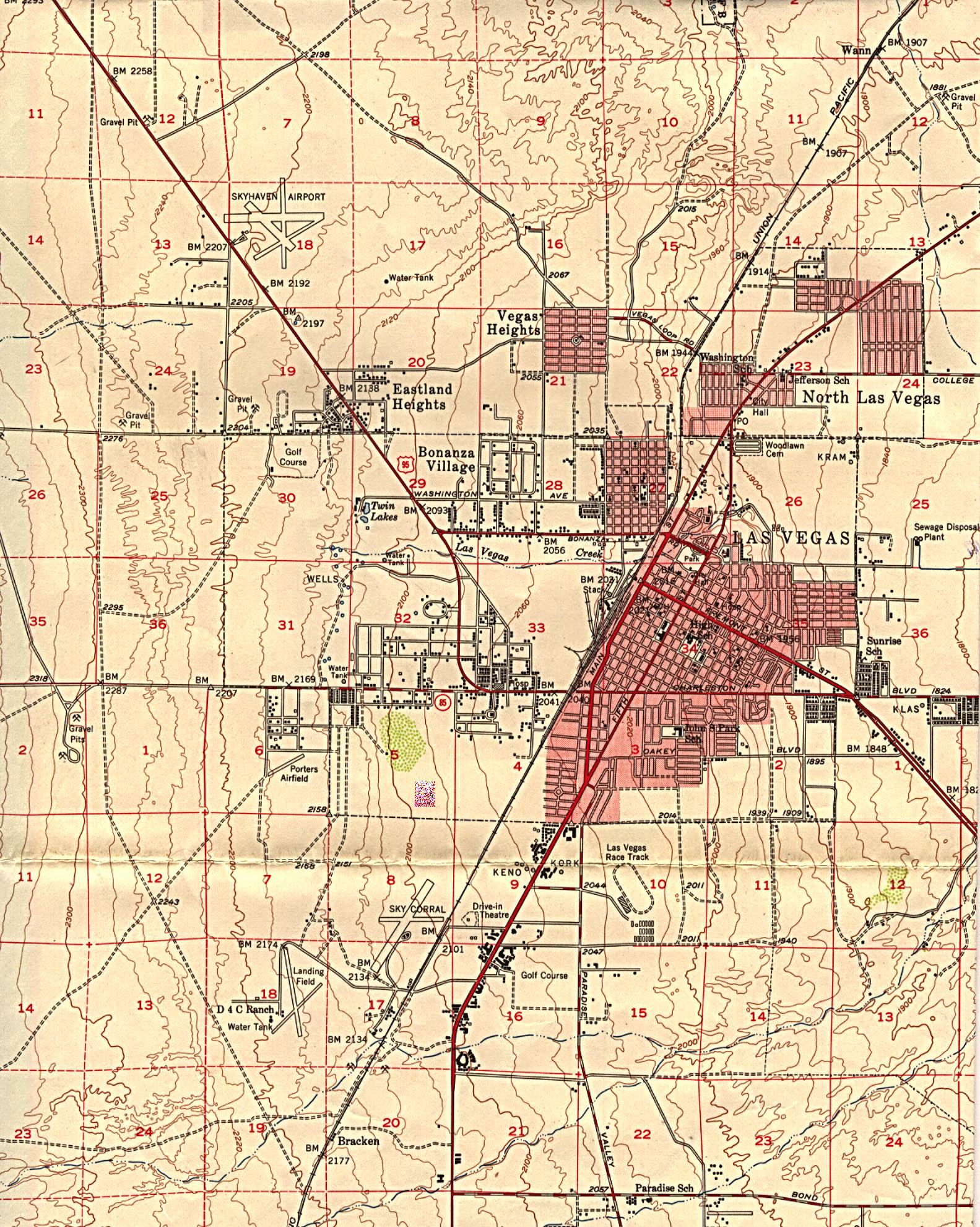 Mapa Topografico De La Ciudad De Las Vegas Nevada Estados Unidos 1952 Mapa Owje Com