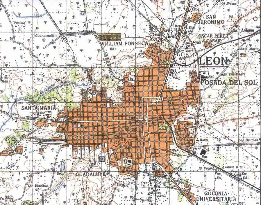 Mapa Topográfico de la Ciudad de León, Nicaragua