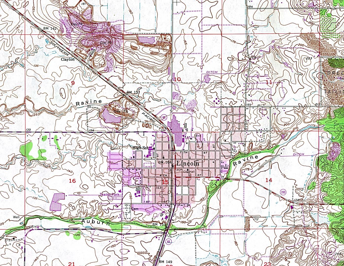 Mapa Topográfico de la Ciudad de Lincoln, California, Estados Unidos