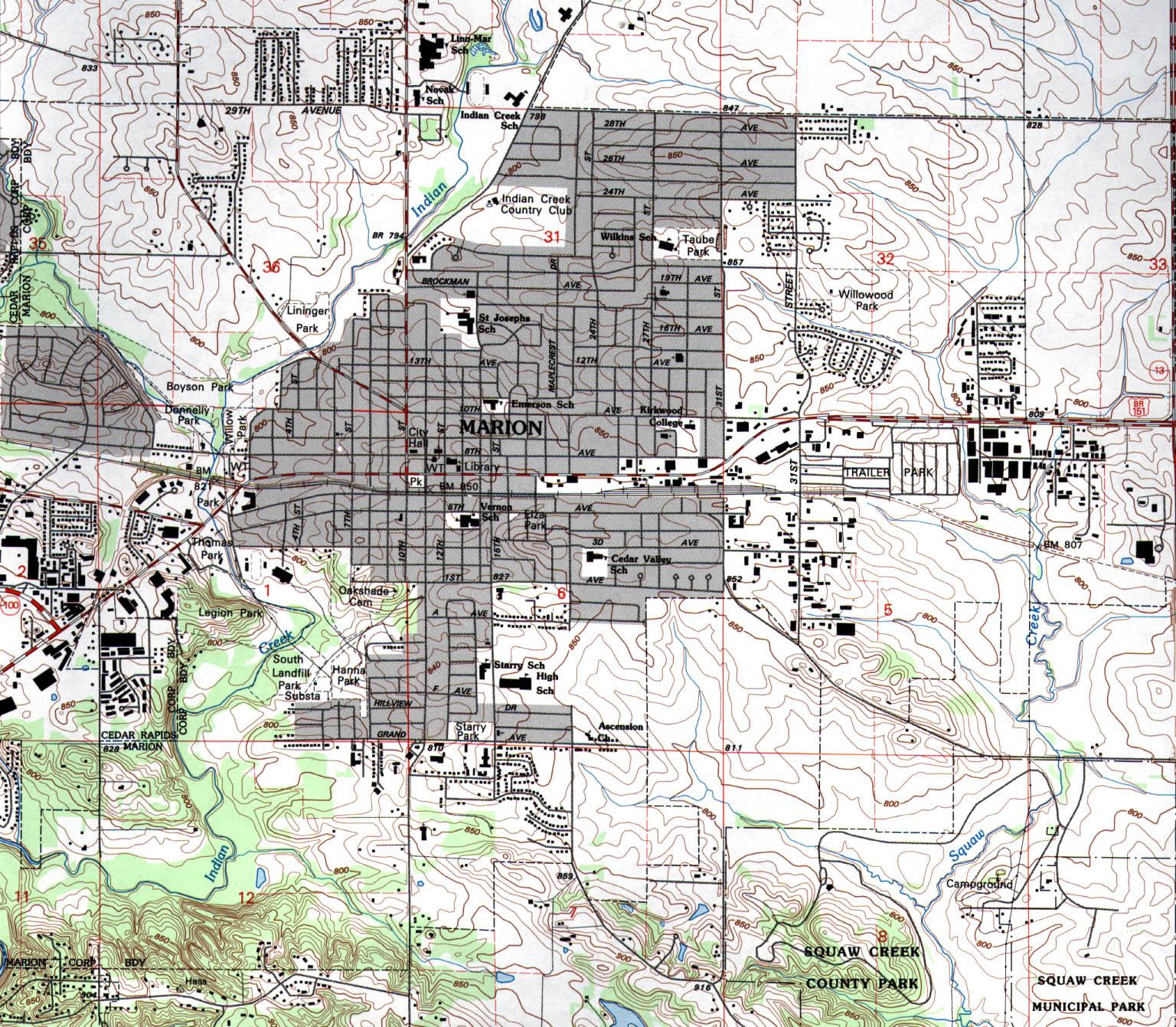 Mapa Topográfico de la Ciudad de Marion, Iowa, Estados Unidos