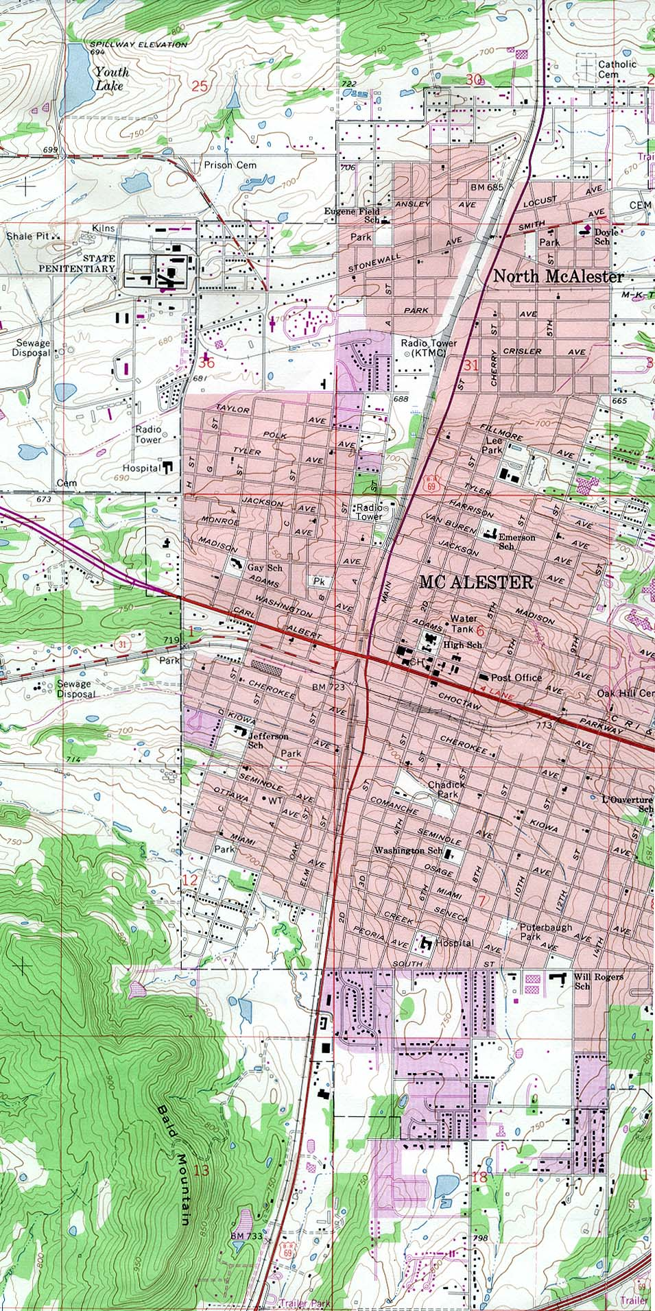 Mc Alester Topographic City Map, Oklahoma, United States