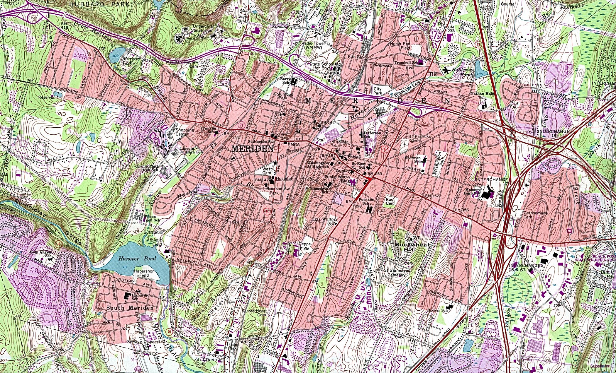 Mapa Topográfico de la Ciudad de Meriden, Connecticut, Estados Unidos