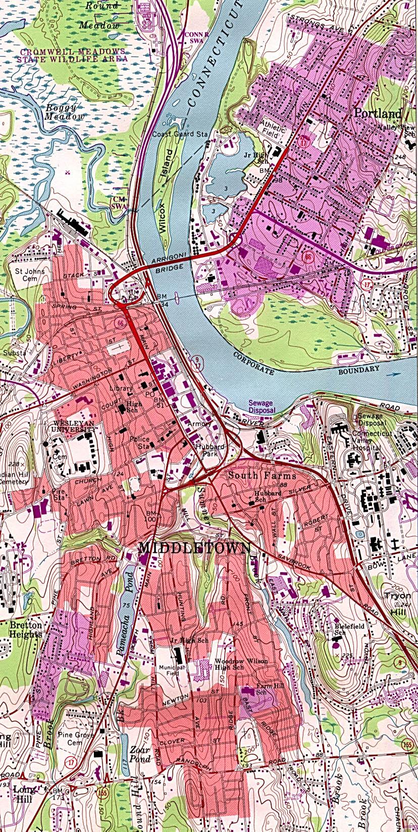 Mapa Topográfico de la Ciudad de Middletown, Connecticut, Estados Unidos