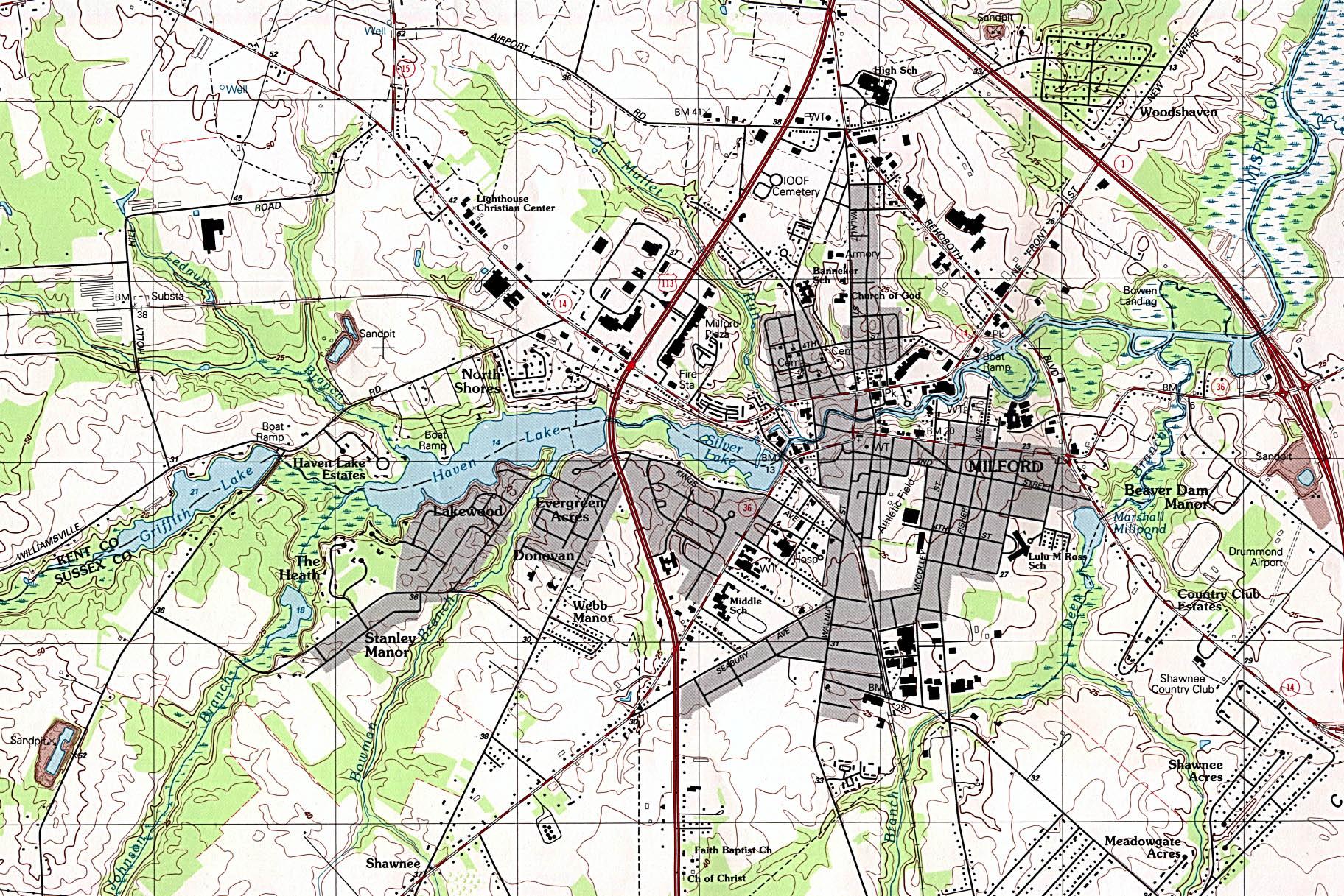 Mapa Topográfico de la Ciudad de Milford, Delaware, Estados Unidos