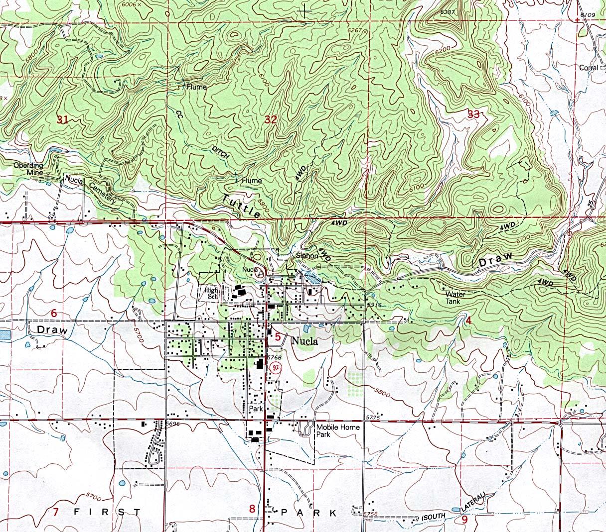 Mapa Topográfico de la Ciudad de Nucla, Colorado, Estados Unidos