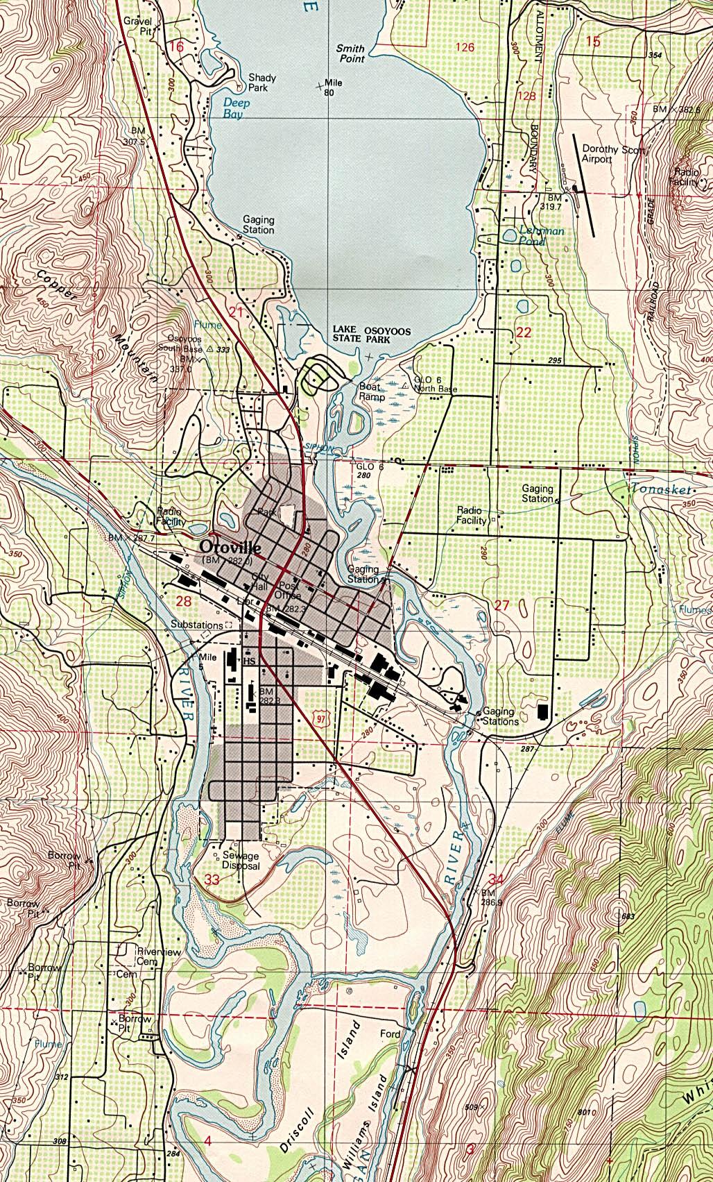 Mapa Topográfico de la Ciudad de Oroville, Washington, Estados Unidos