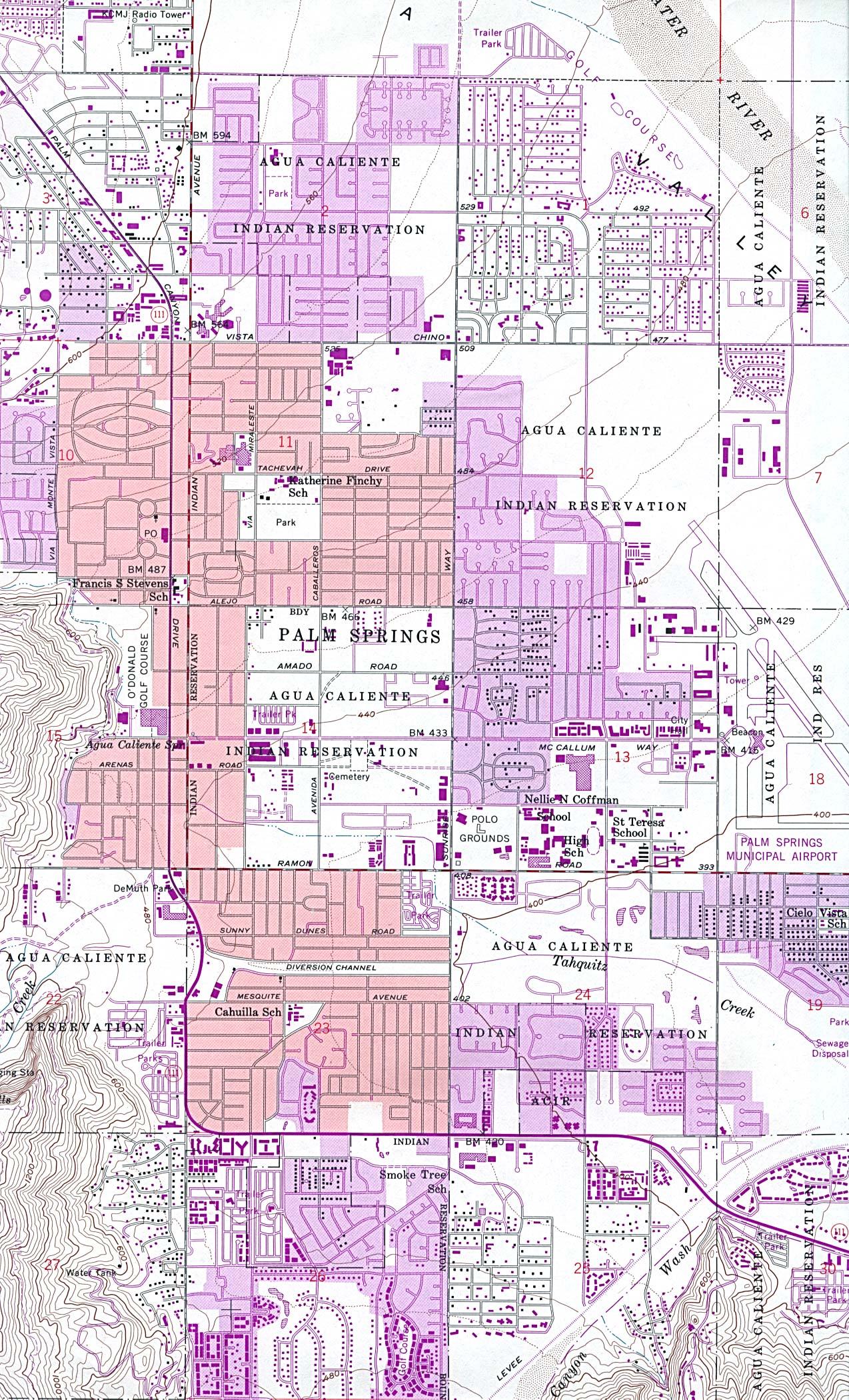 Mapa Topográfico de la Ciudad de Palm Springs, California, Estados Unidos