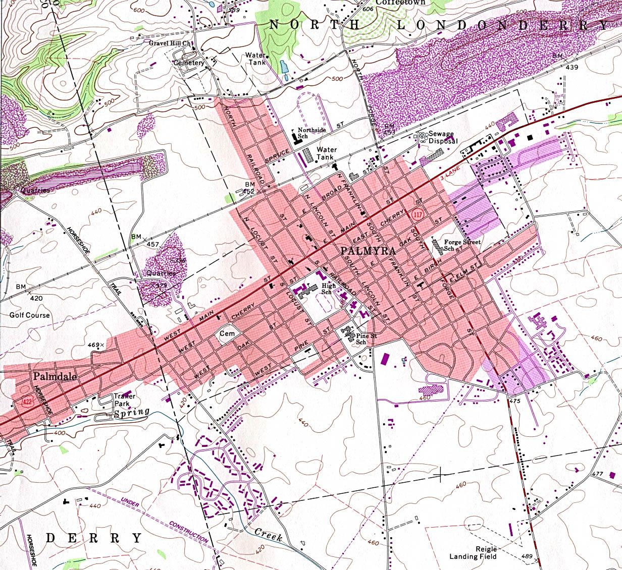 Mapa Topográfico de la Ciudad de Palmyra, Pensilvania, Estados Unidos