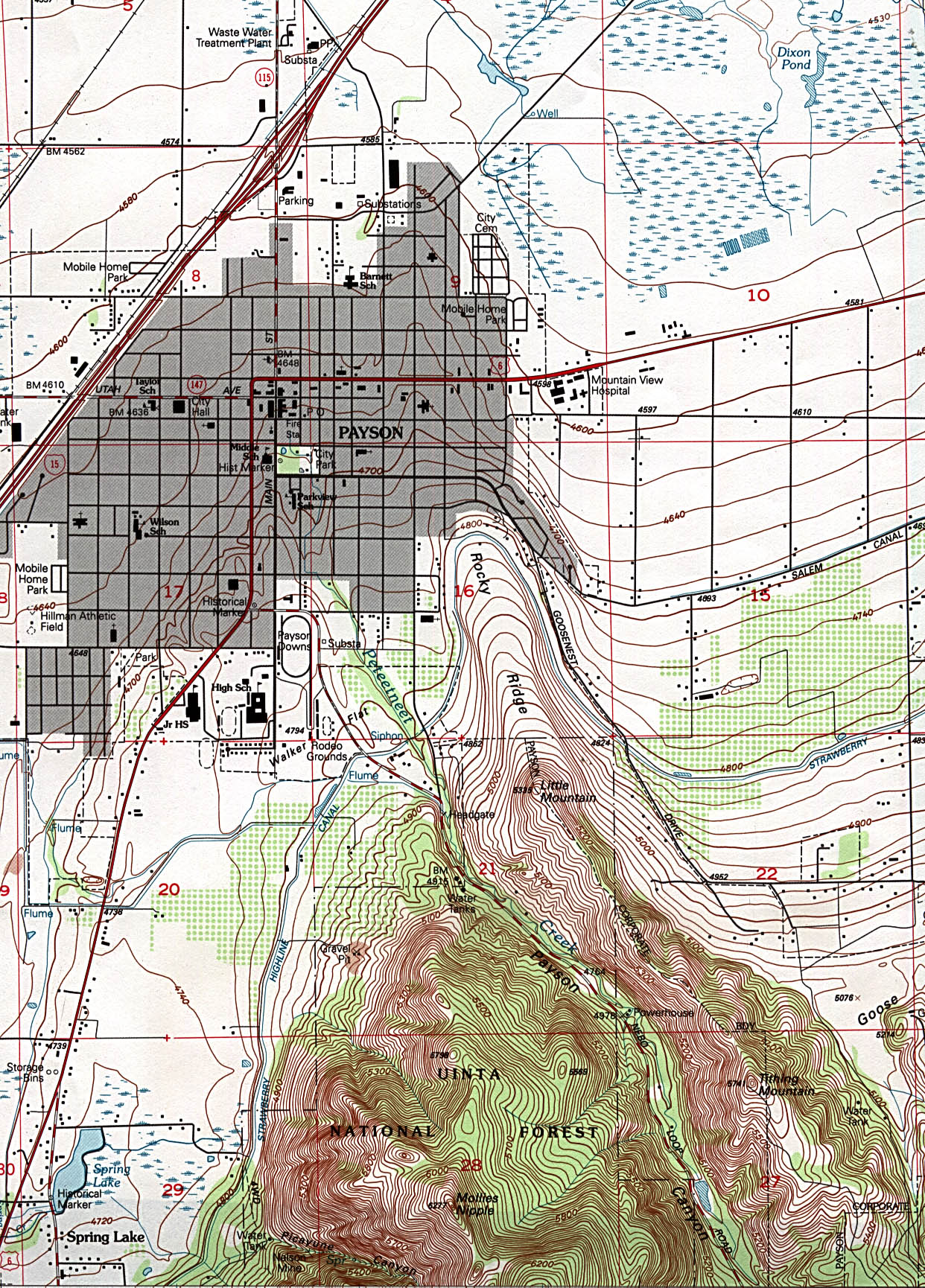 Payson Topographic City Map, Utah, United States