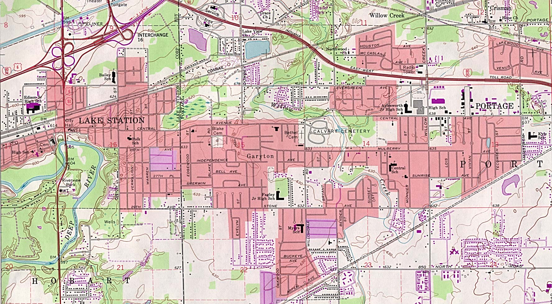 Portage Topographic City Map, Indiana, United States