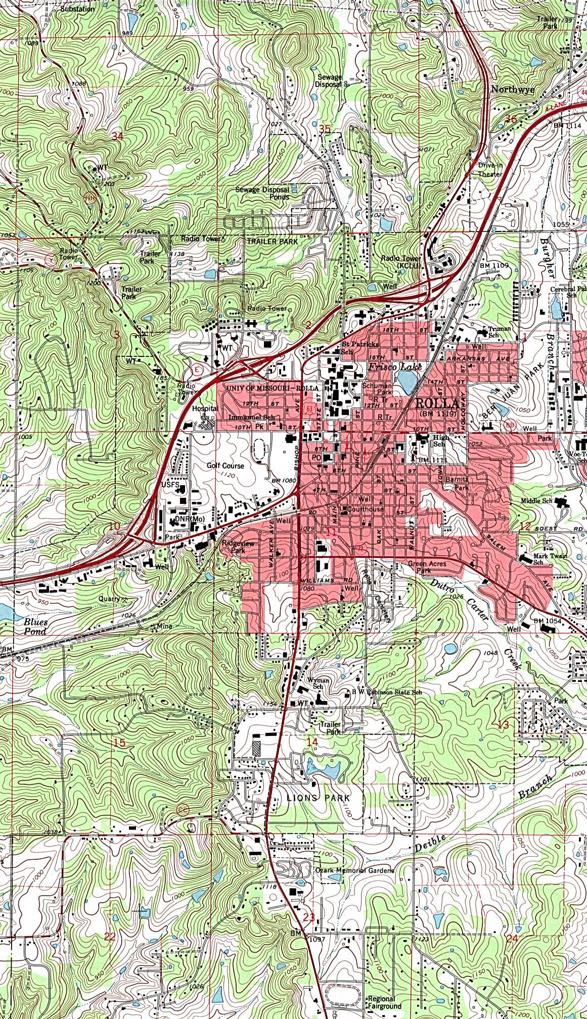 Mapa Topográfico de la Ciudad de Rolla, Missouri, Estados Unidos