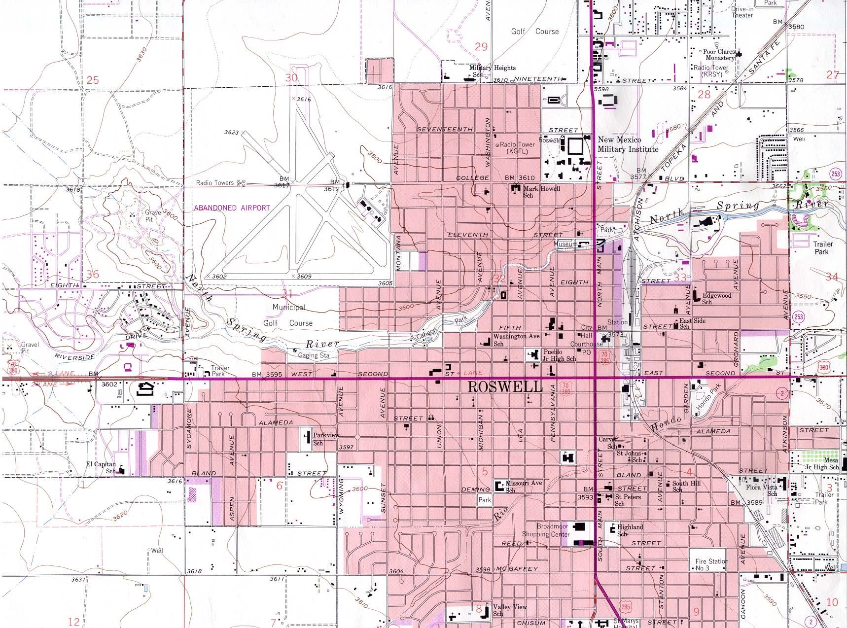 Mapa Topográfico de la Ciudad de Roswell, Nuevo México, Estados Unidos