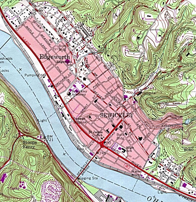 Mapa Topográfico de la Ciudad de Sewickley, Pensilvania, Estados Unidos