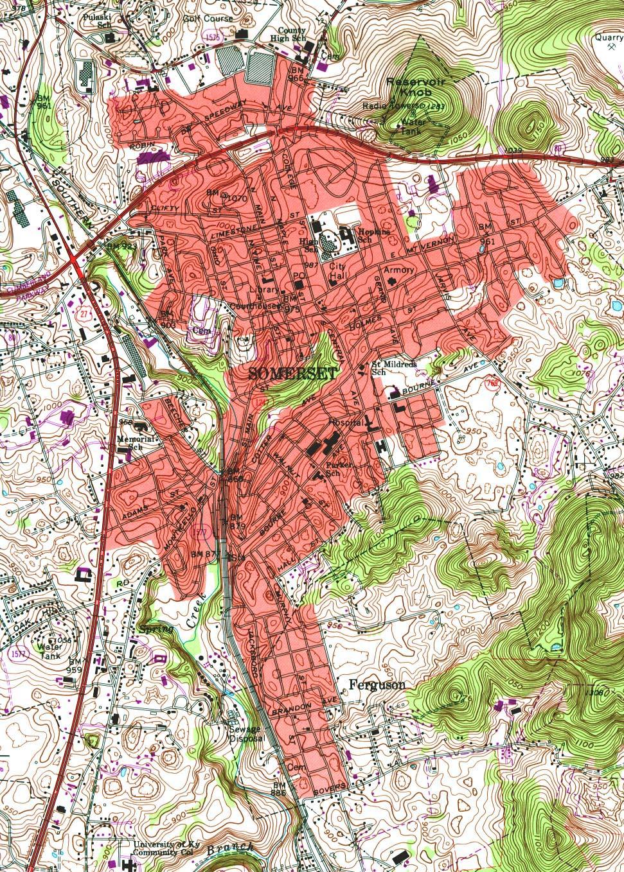 Mapa Topográfico de la Ciudad de Somerset, Kentucky, Estados Unidos