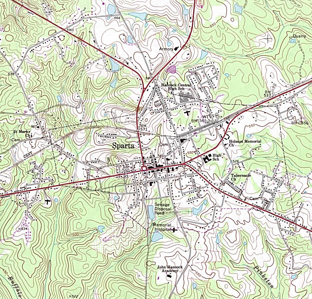 Mapa Topográfico de la Ciudad de Sparta, Georgia, Estados Unidos