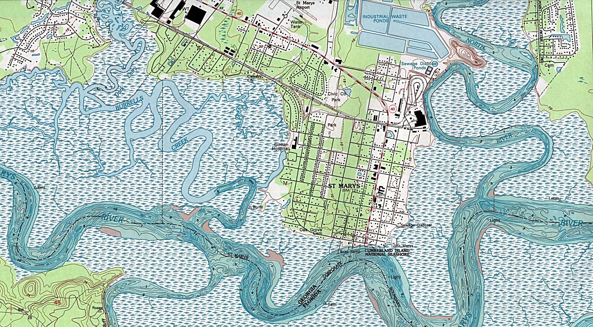 Mapa Topográfico de la Ciudad de St. Marys, Georgia, Estados Unidos