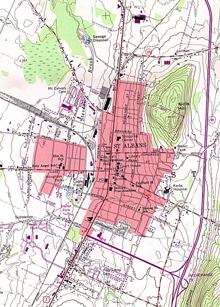 Mapa Topográfico de la Ciudad de St.Albans, Vermont, Estados Unidos