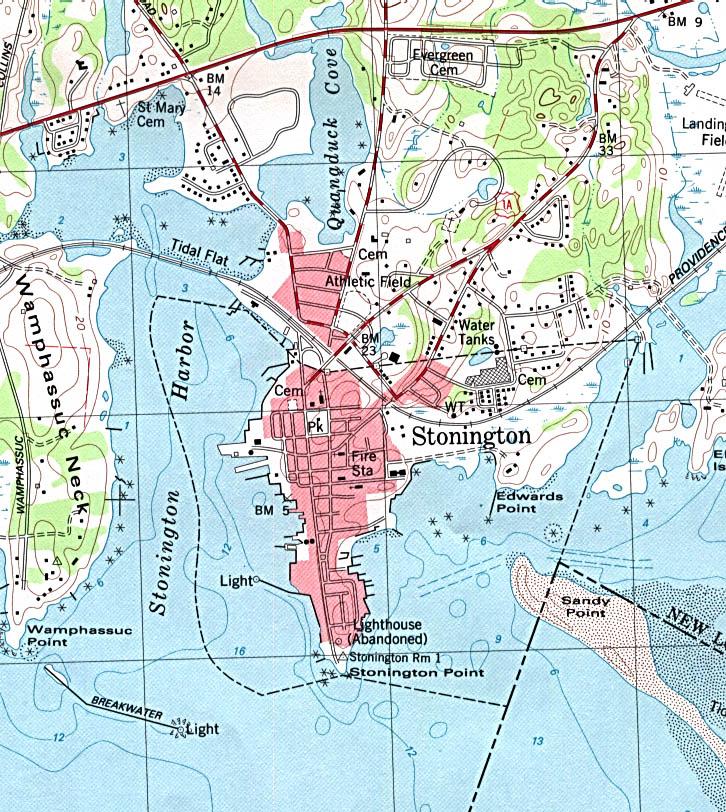 Mapa Topográfico de la Ciudad de Stonington, Connecticut, Estados Unidos