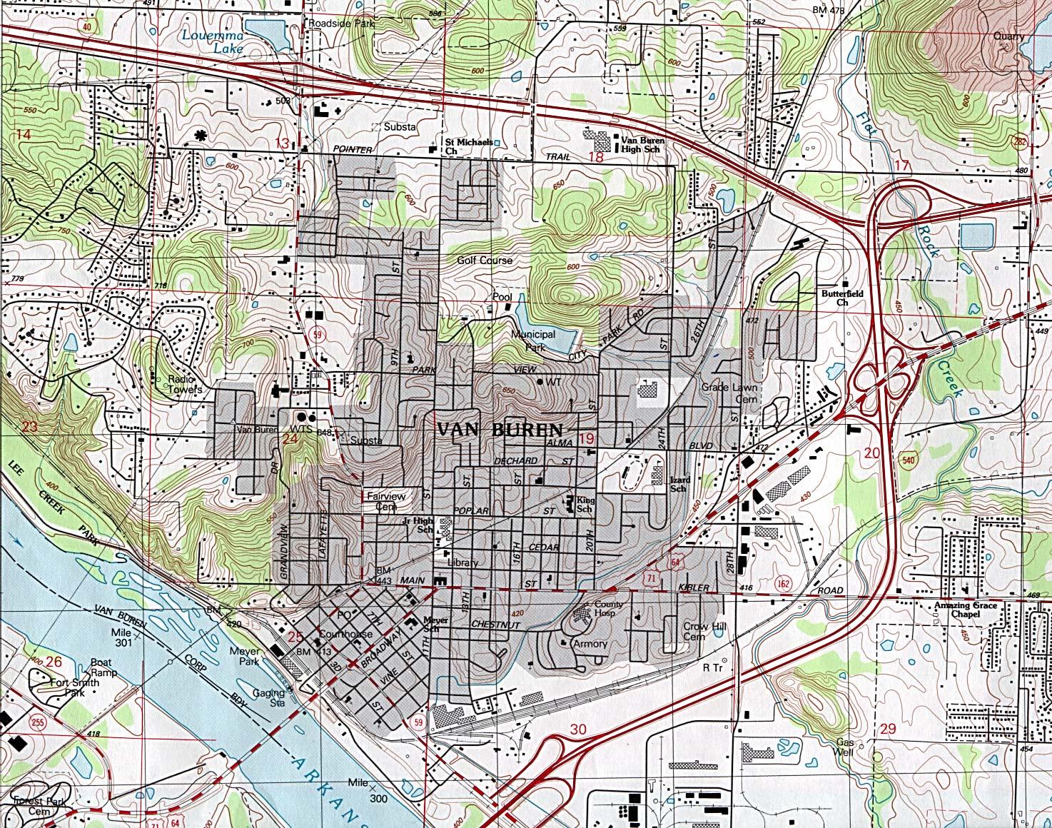 Mapa Topográfico de la Ciudad de Van Buren, Arkansas, Estados Unidos