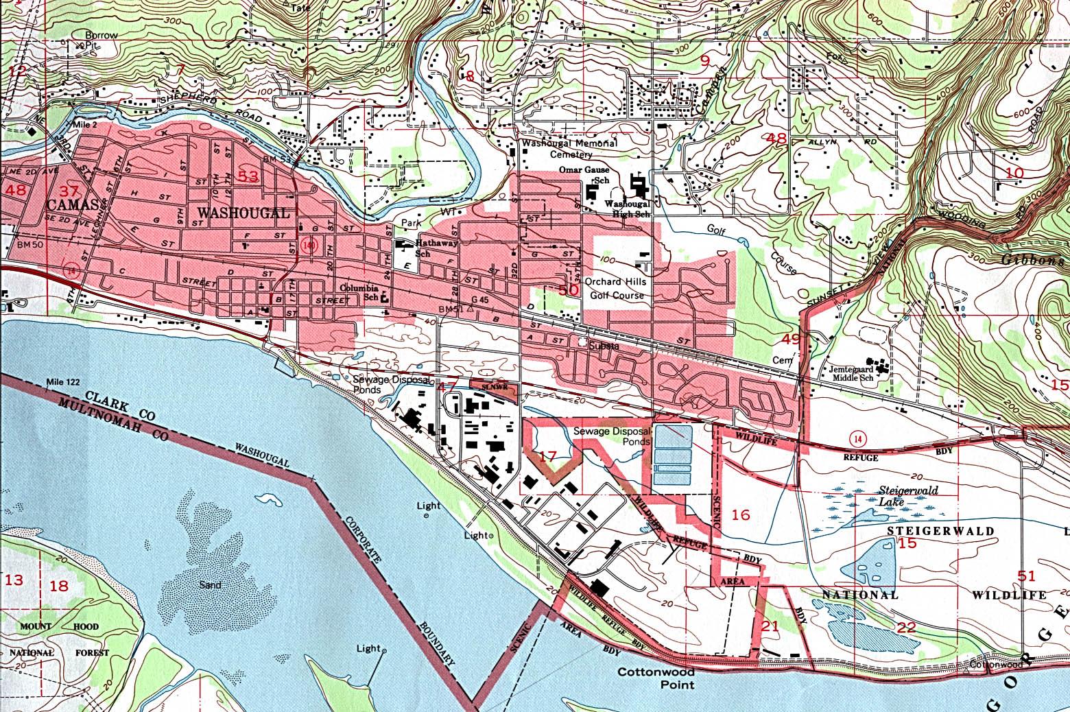 Mapa Topográfico de la Ciudad de Washougal, Washington, Estados Unidos
