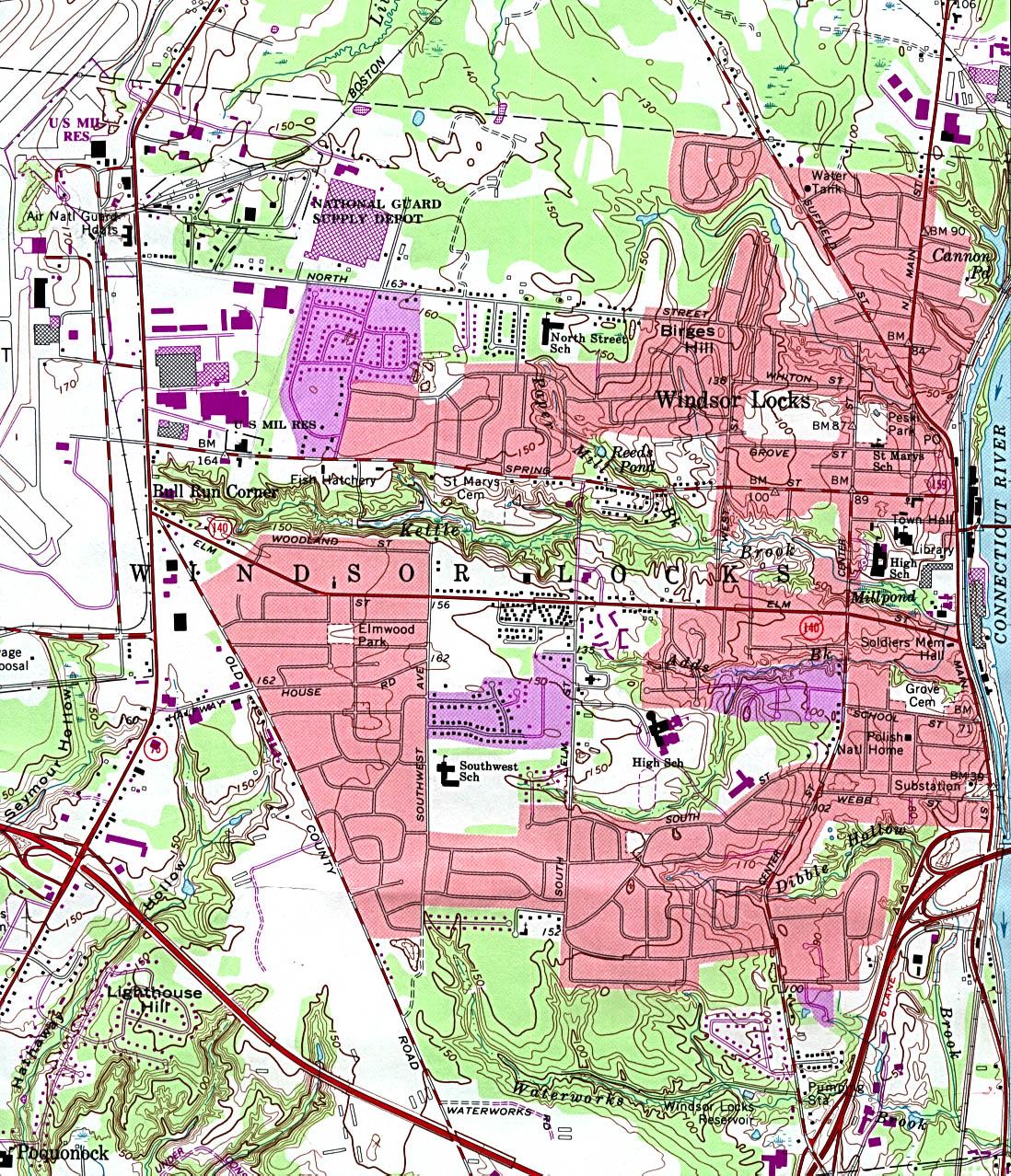 Mapa Topográfico de la Ciudad de Windsor Locks, Connecticut, Estados Unidos